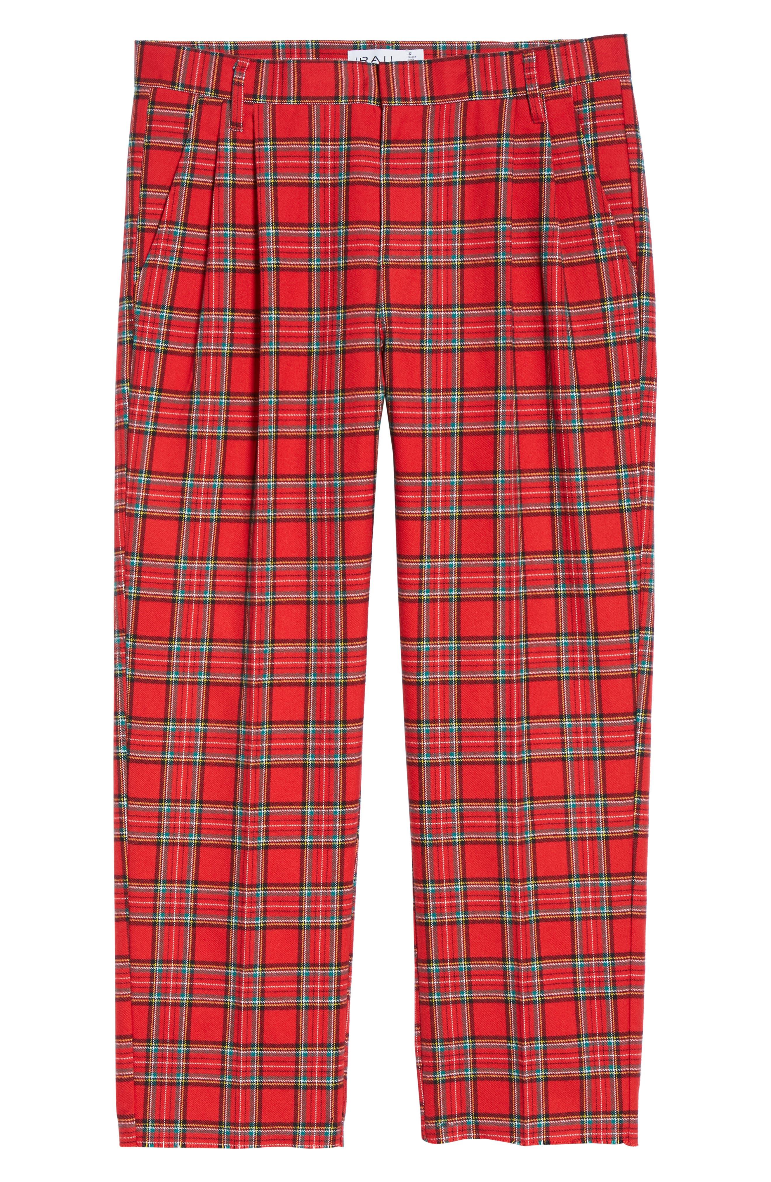 Pleated Plaid Crop Pants,                             Alternate thumbnail 6, color,                             GREY CHARCOAL GLENN PLAID