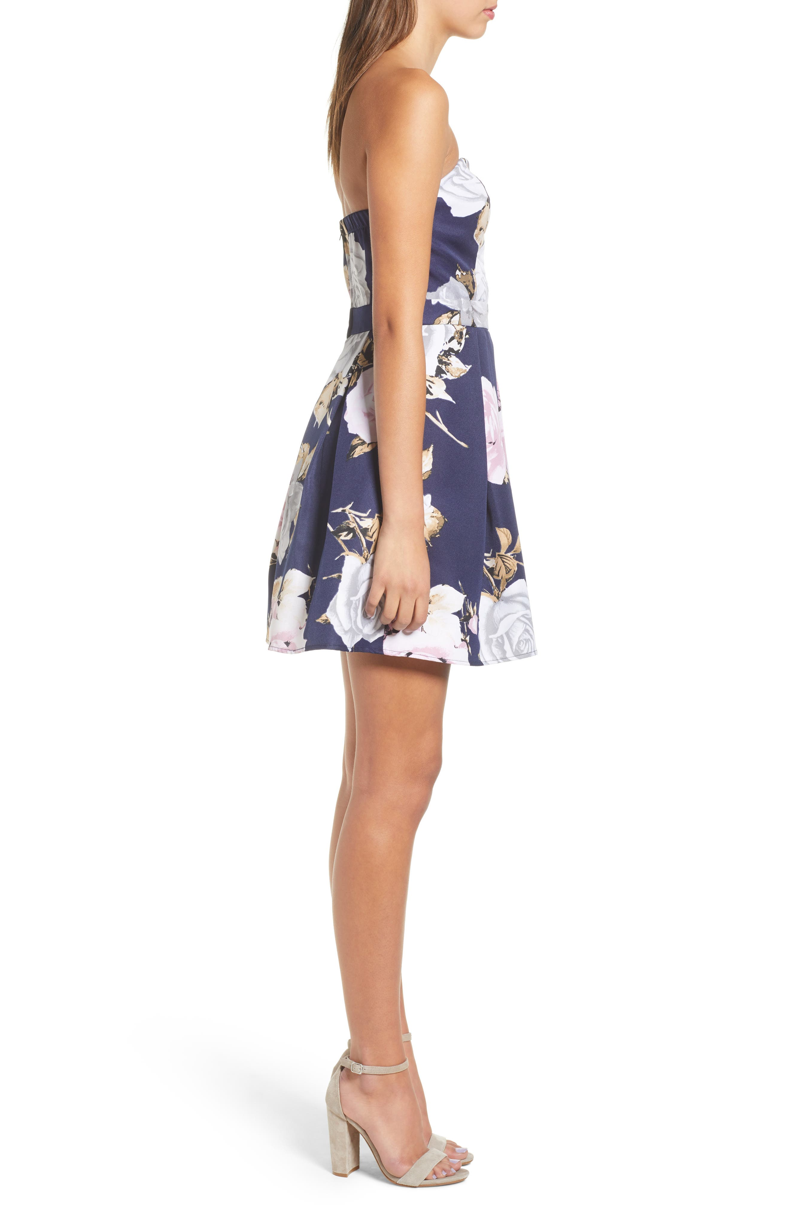 Floral Strapless Dress,                             Alternate thumbnail 3, color,                             NAVY/ GREEN