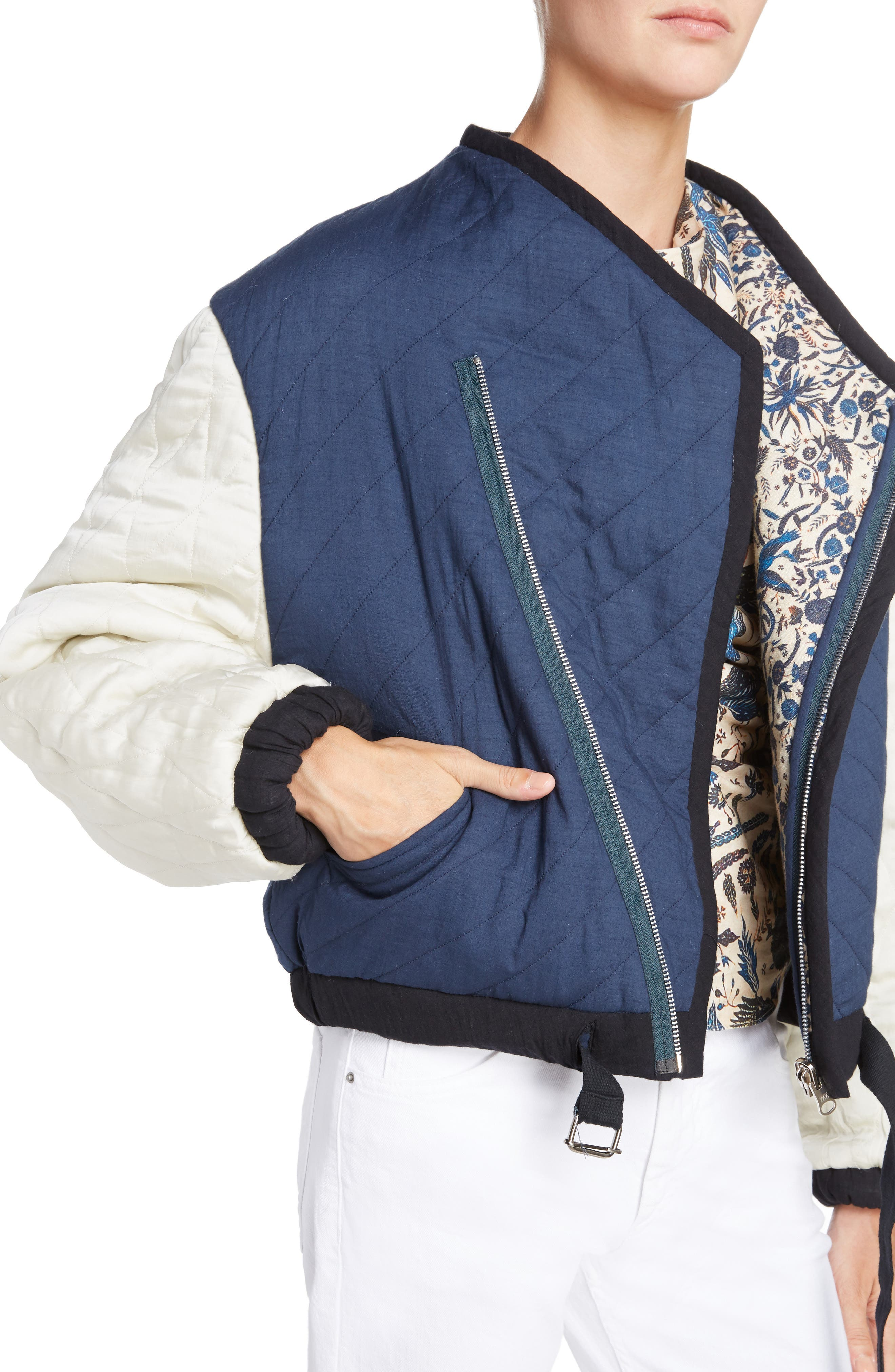 Isabel Marant Étoile Hanae Quilted Bomber,                             Alternate thumbnail 4, color,                             400