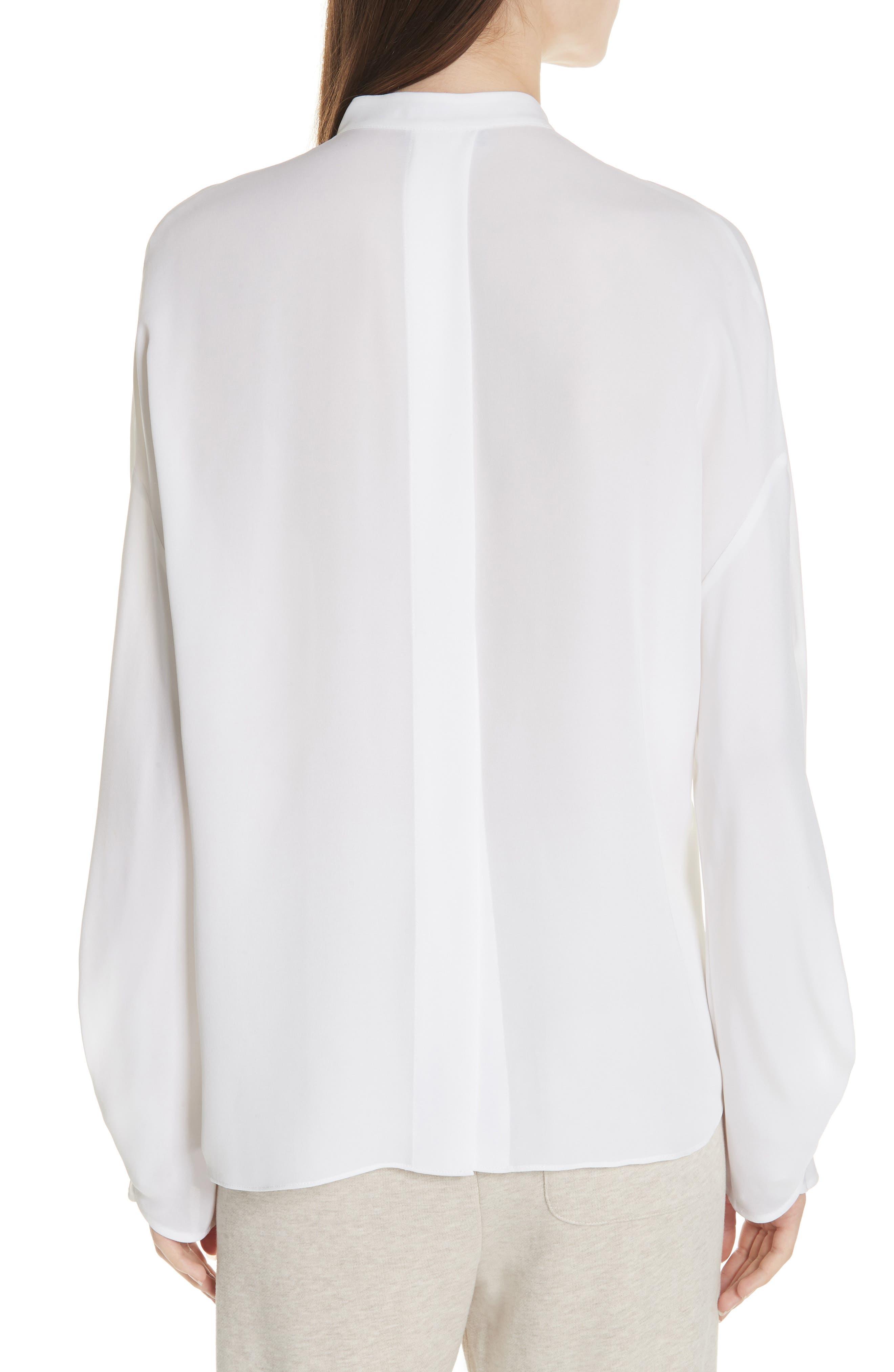 Envelope Sleeve Silk Blouse,                             Alternate thumbnail 2, color,                             OPTIC WHITE