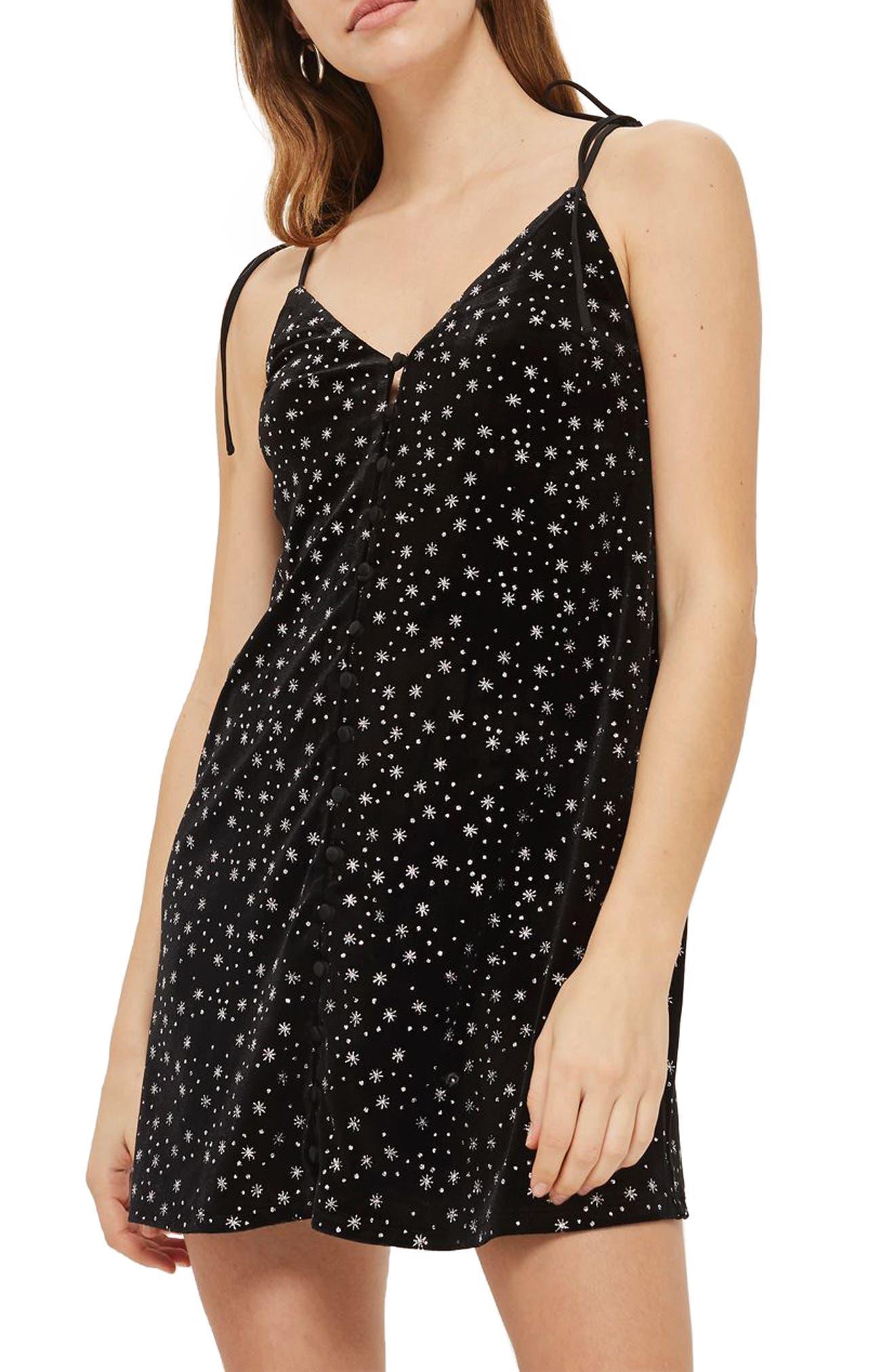 Glitter Star Velvet Slipdress,                         Main,                         color, 001