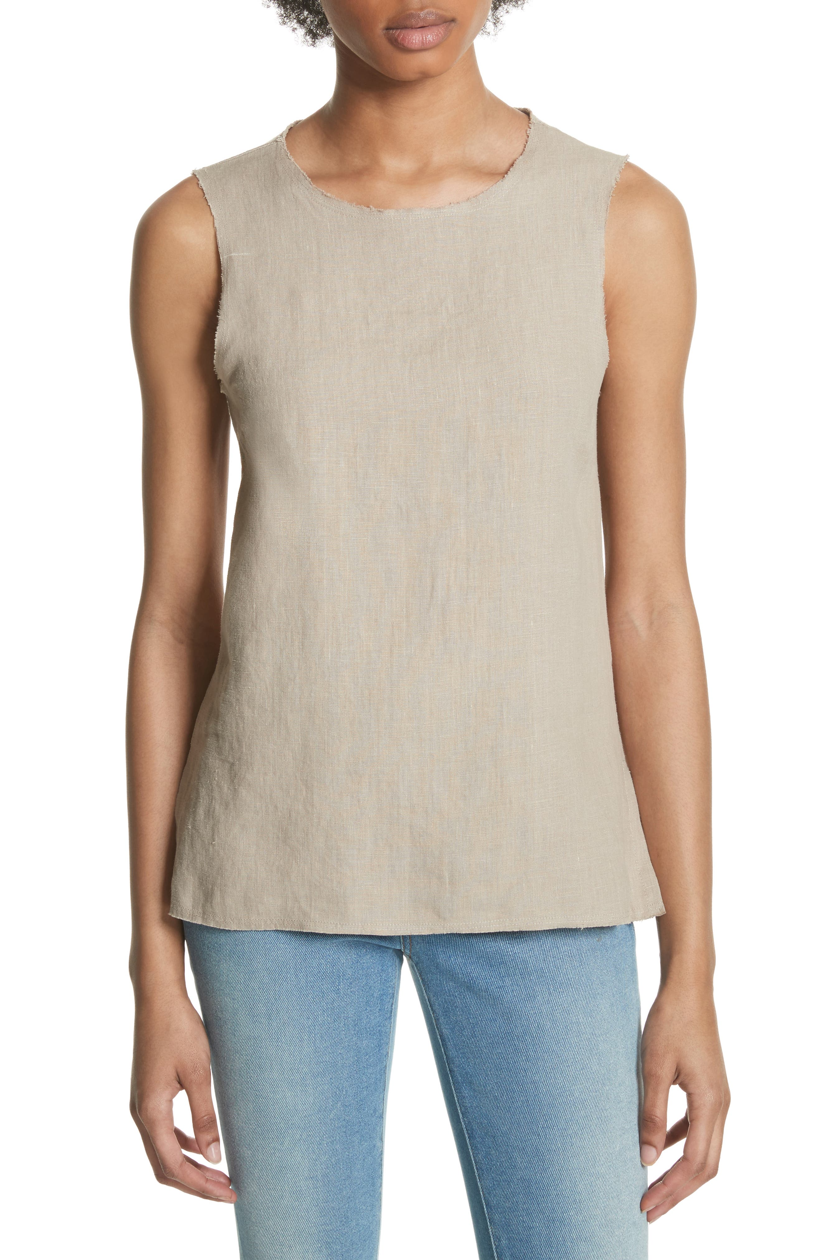 Lace-Up Linen Top,                         Main,                         color, 256