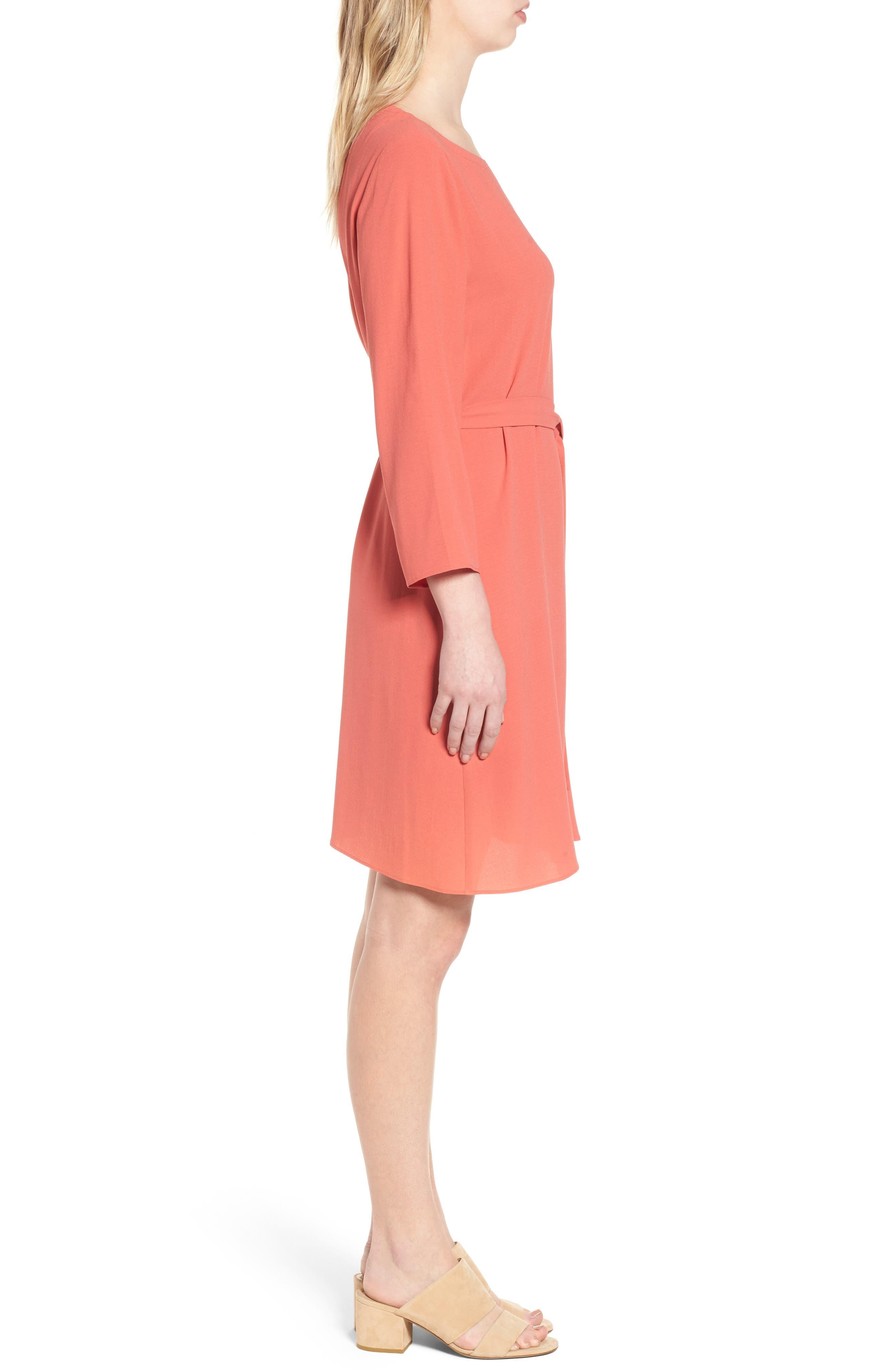 Bateau Neck Silk Dress,                             Alternate thumbnail 6, color,