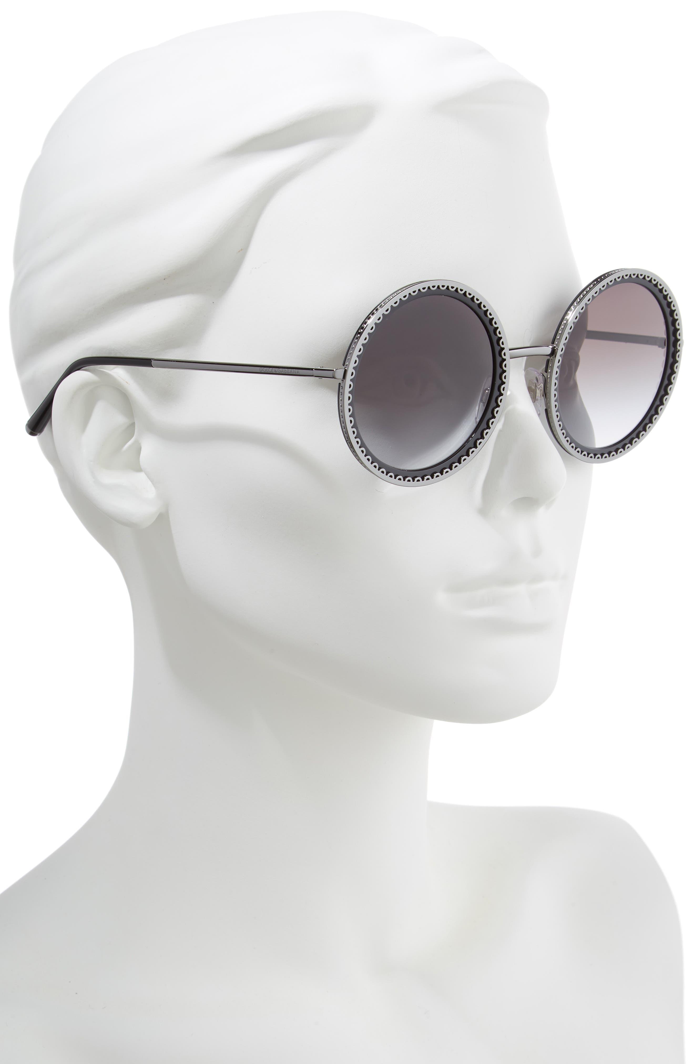 Sacred Heart 53mm Gradient Round Sunglasses,                             Alternate thumbnail 2, color,                             DARK GUNMETAL GRADIENT