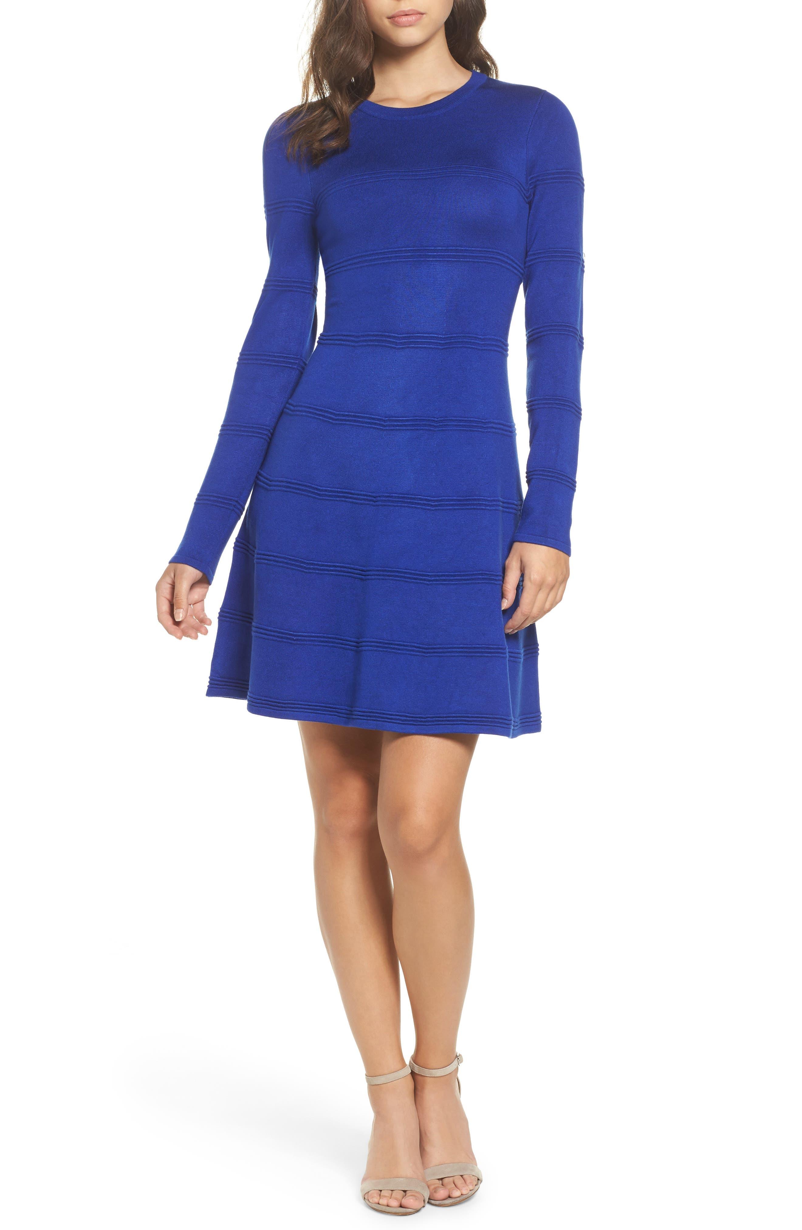 A-Line Sweater Dress,                             Main thumbnail 1, color,                             COBALT