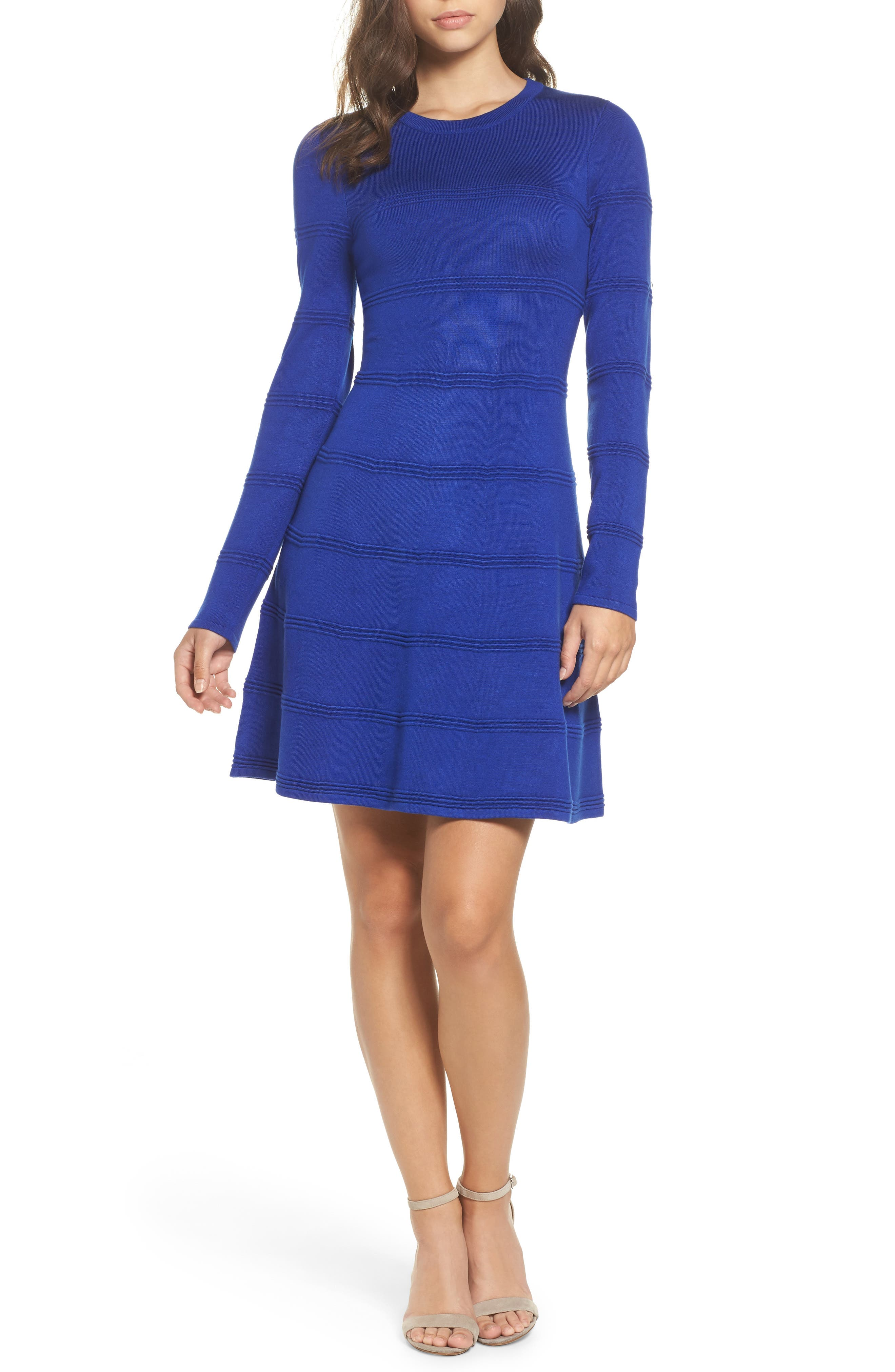 A-Line Sweater Dress,                         Main,                         color, COBALT