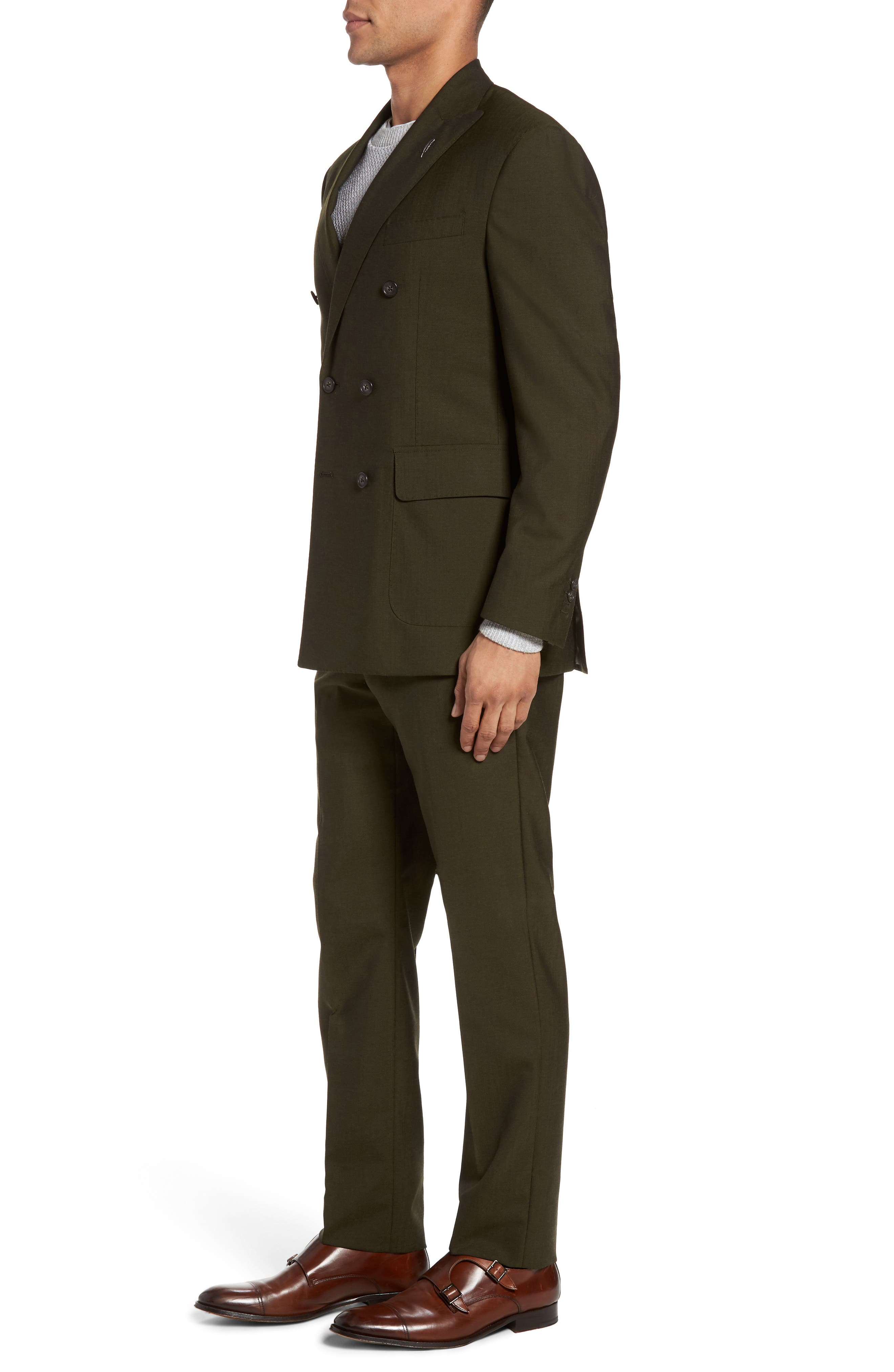 Classic Fit Double Breasted Solid Wool Suit,                             Alternate thumbnail 3, color,                             300