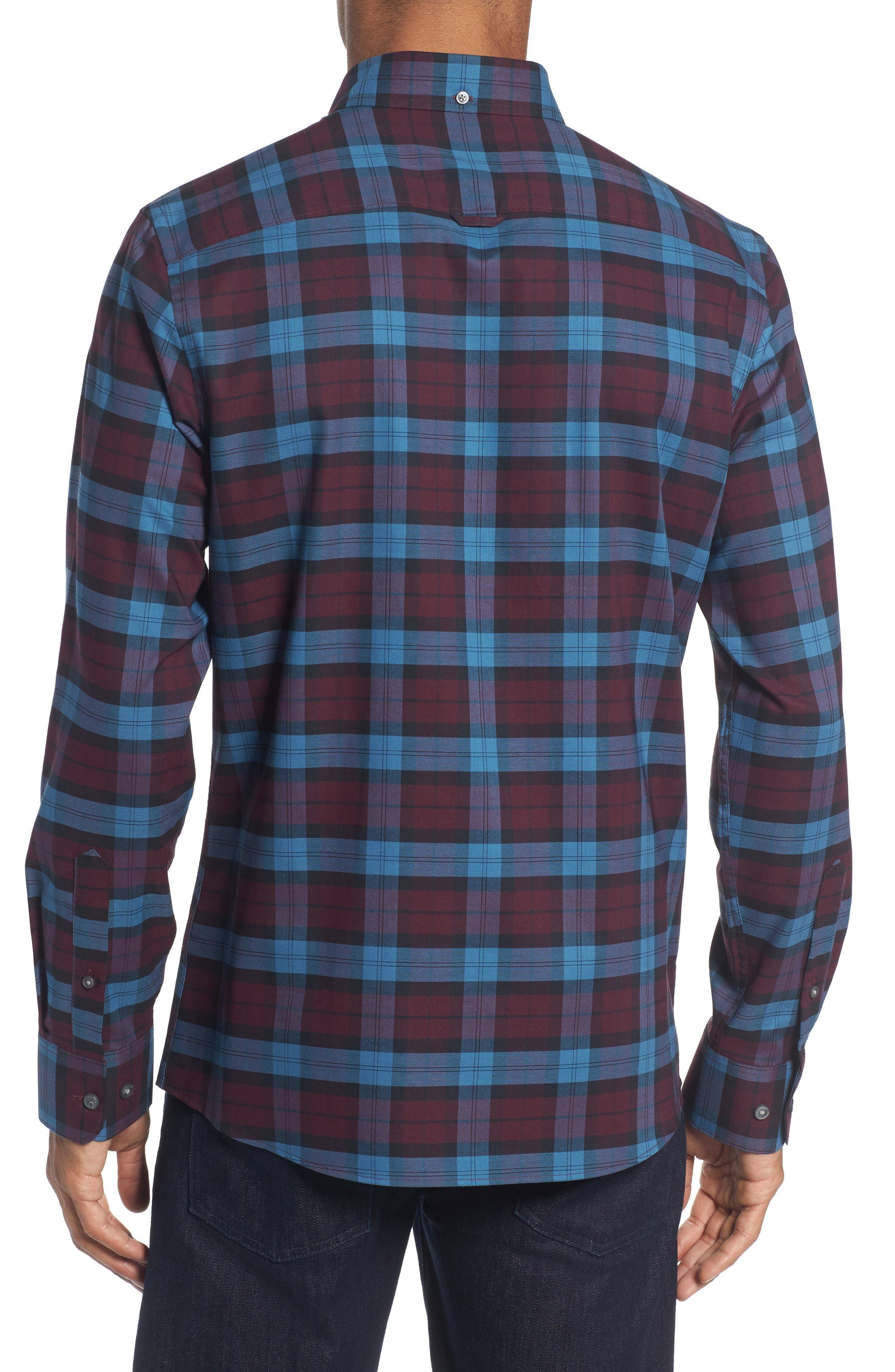 Tech-Smart Slim Fit Plaid Sport Shirt,                             Alternate thumbnail 2, color,