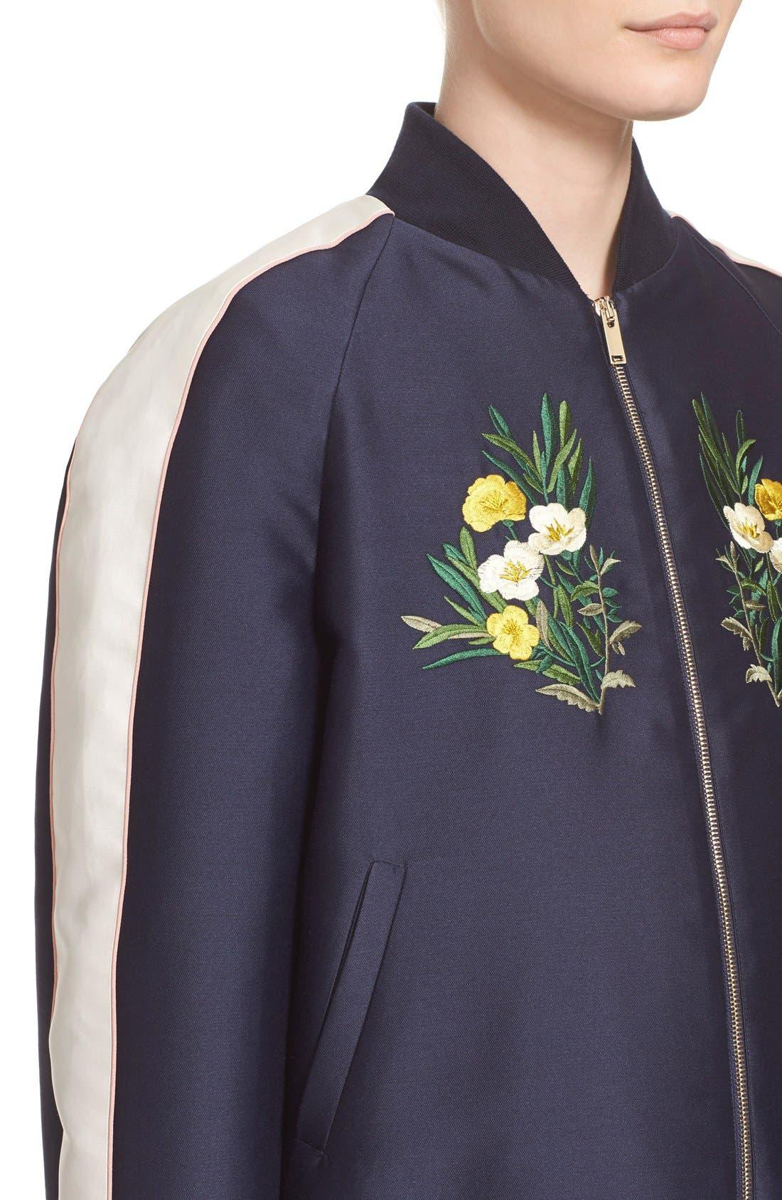 'Lorinda' Floral Embroidered Bomber Jacket,                             Alternate thumbnail 2, color,                             009