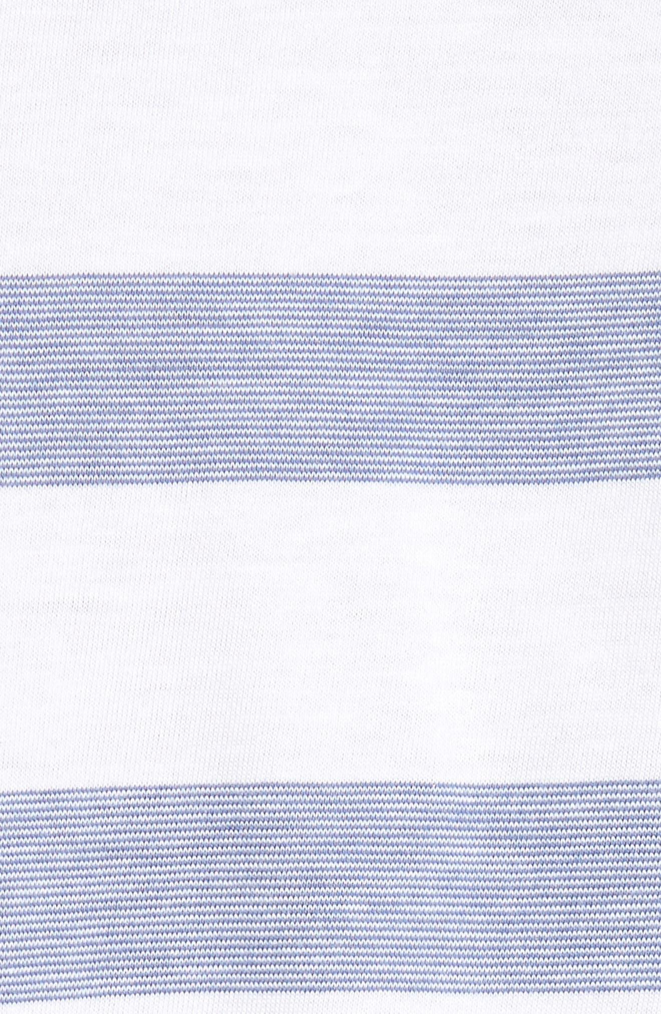 Stripe V-Neck Pima Cotton & Modal T-Shirt,                             Alternate thumbnail 5, color,                             001