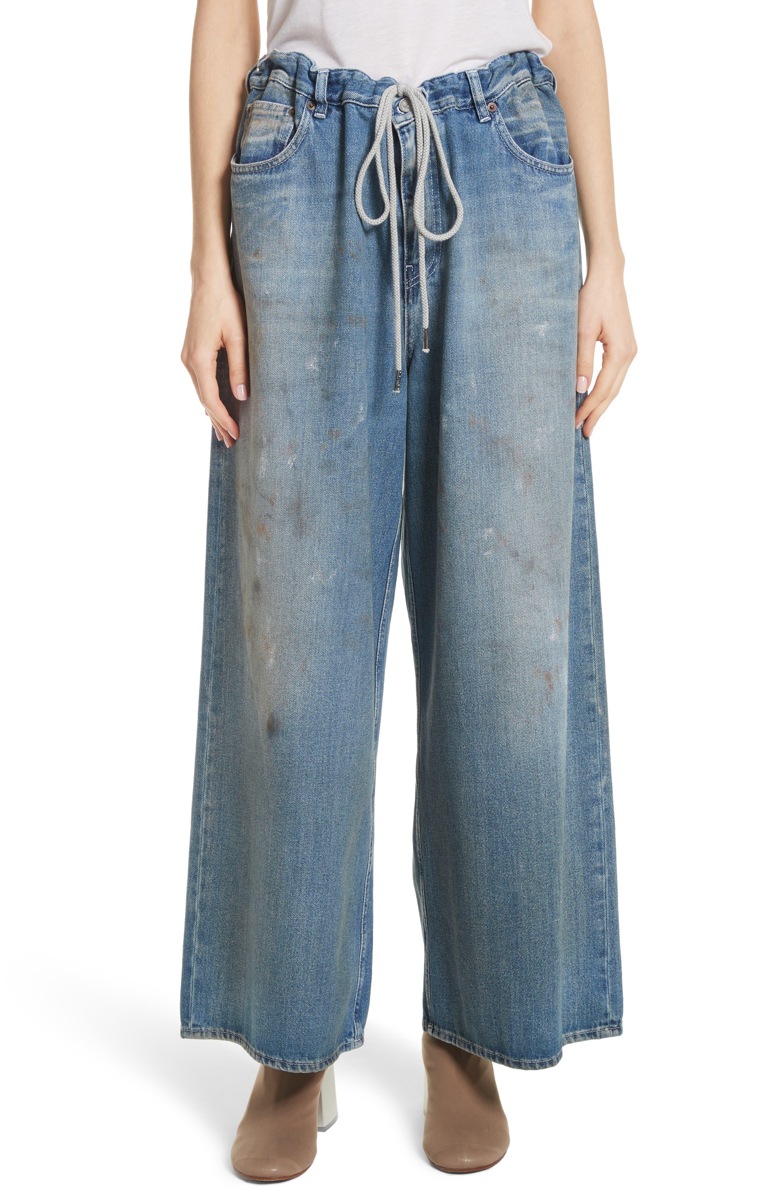 Drawstring Wide Leg Jeans,                         Main,                         color,