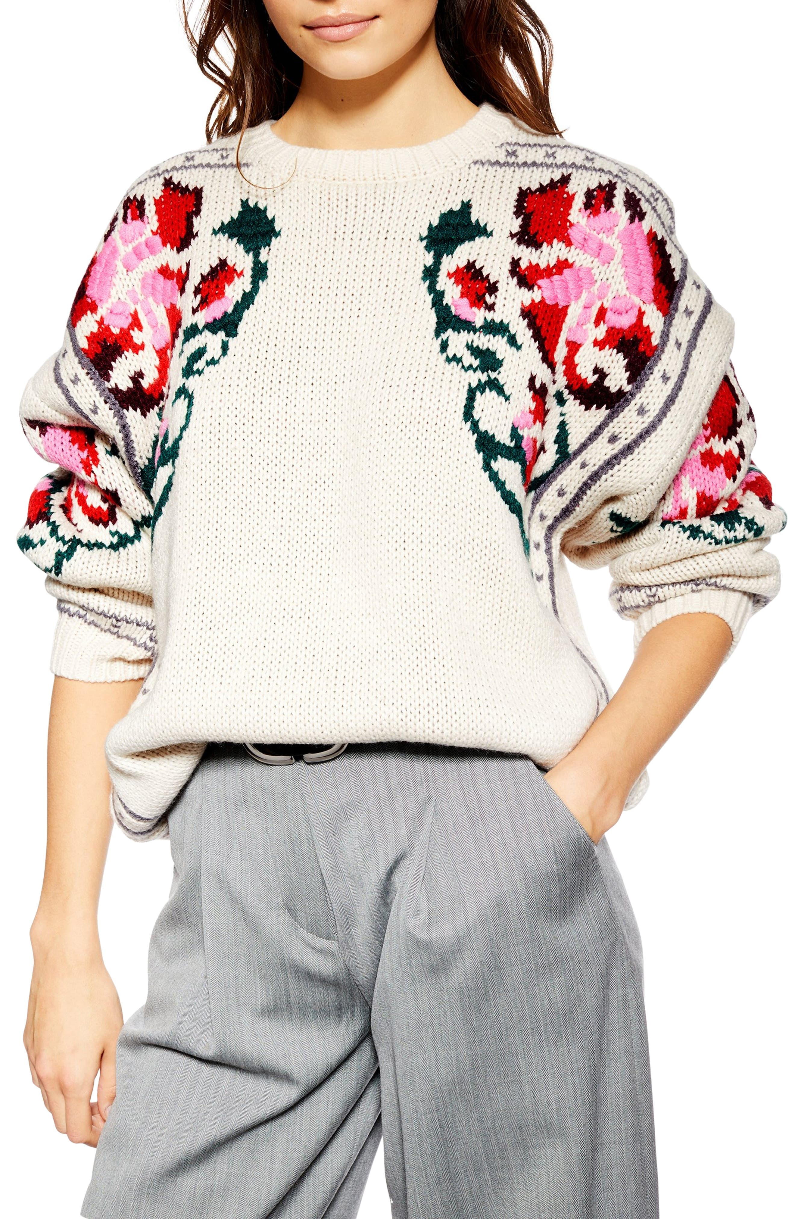 Floral Border Embroidered Sweater,                             Main thumbnail 1, color,                             IVORY MULTI