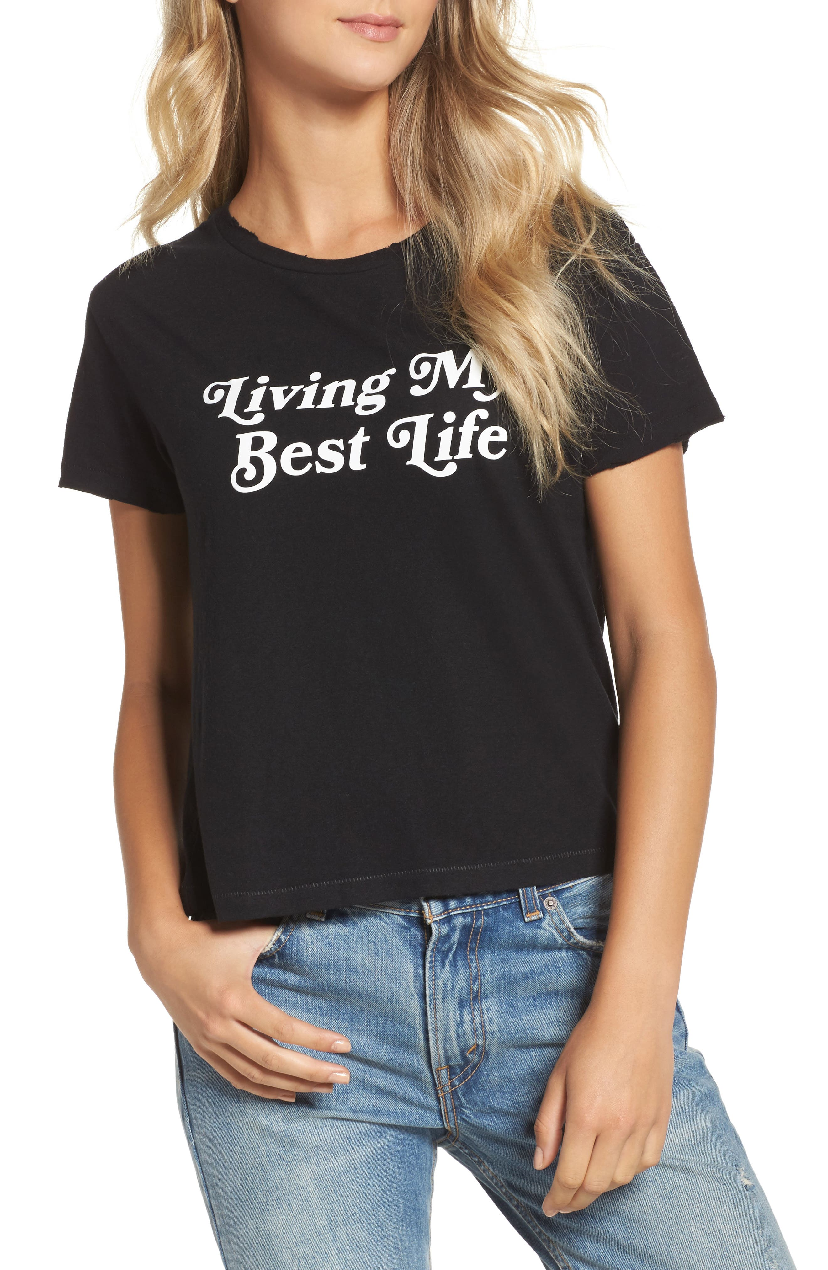 Living My Best Life Tee,                             Main thumbnail 1, color,                             001
