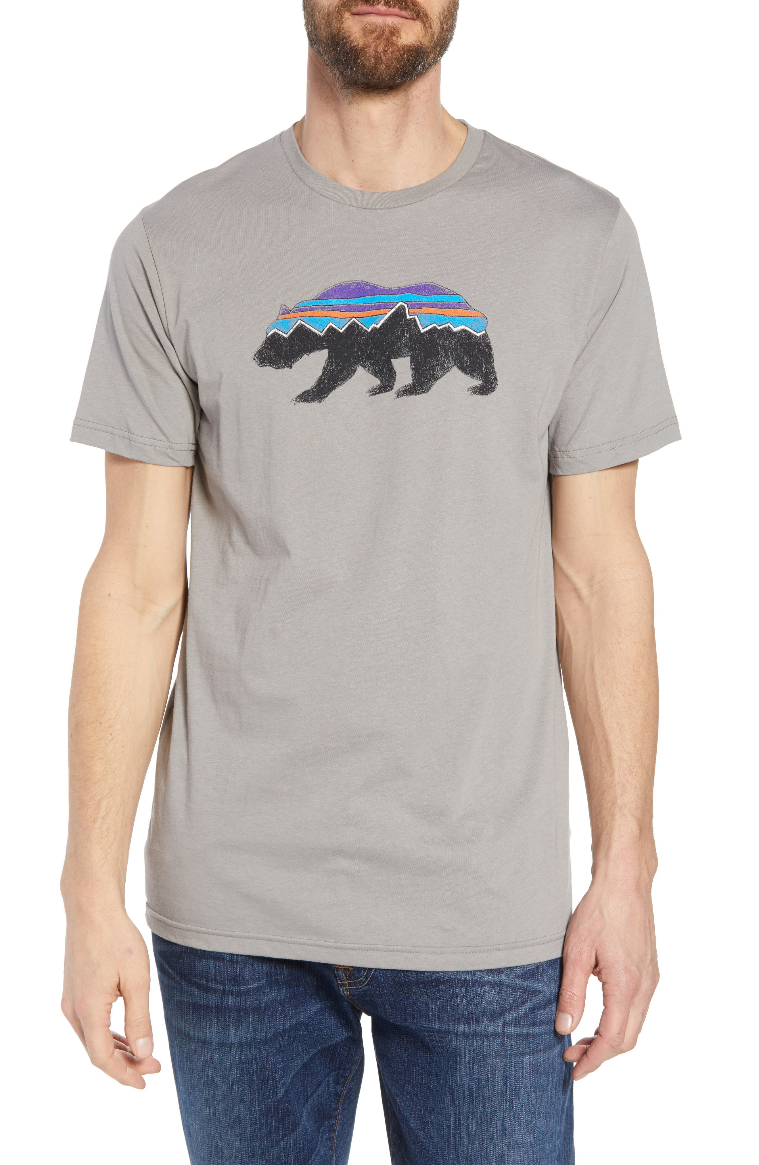 Fitz Roy Bear Crewneck T-Shirt,                         Main,                         color, FEATHER GREY
