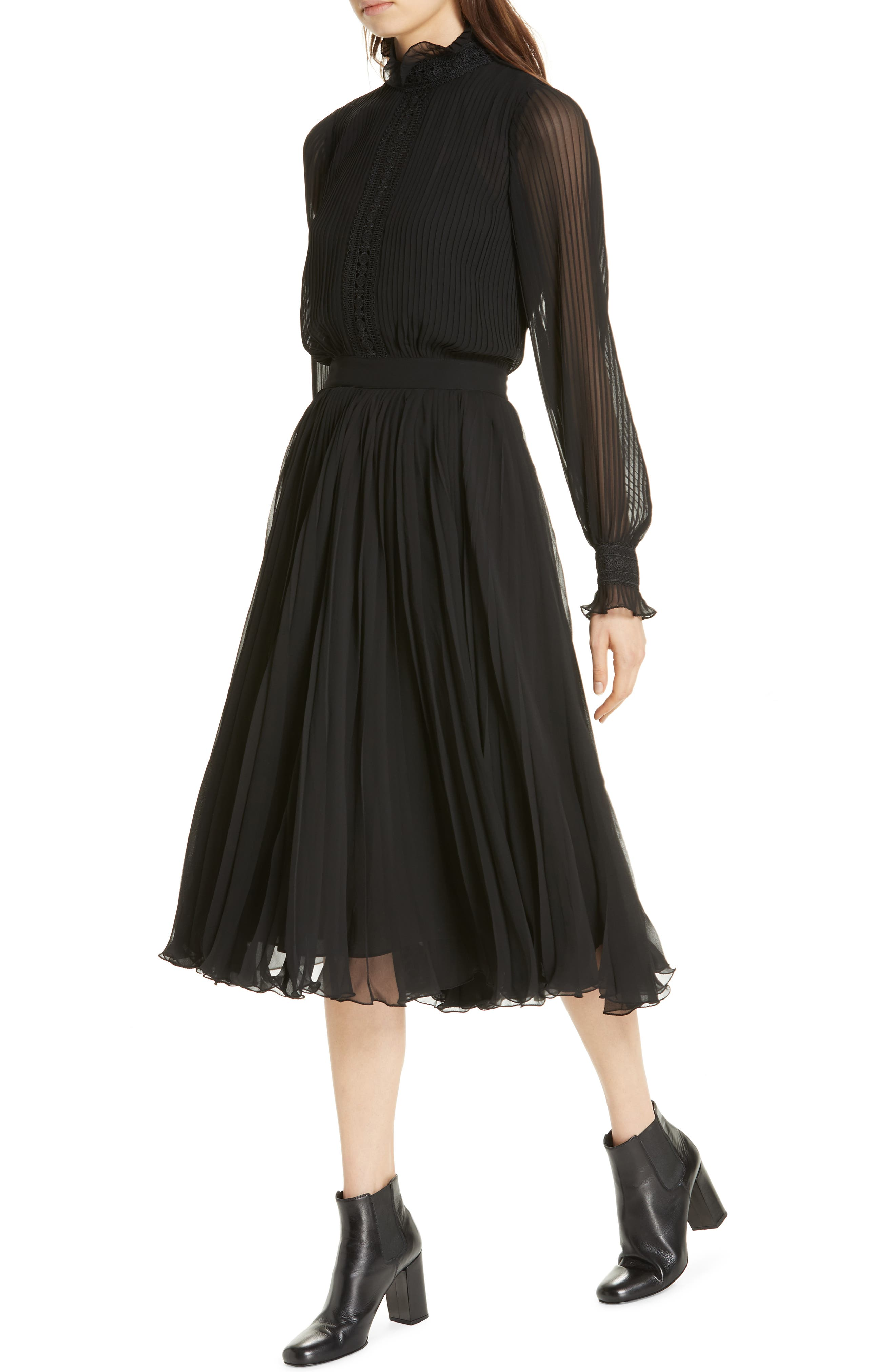 Anbele Midi Dress,                             Alternate thumbnail 4, color,                             POLO BLACK