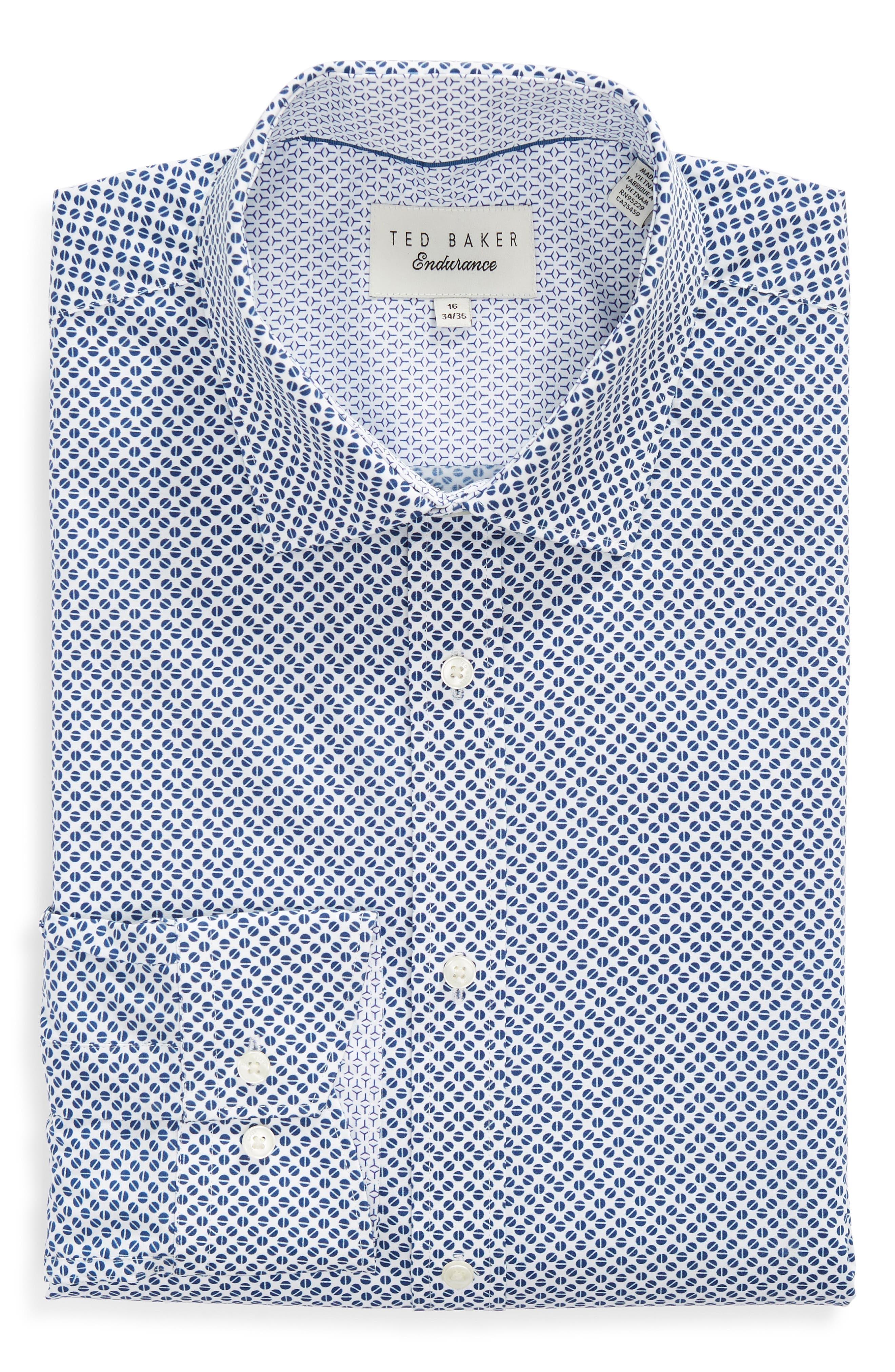 Maratha Trim Fit Print Dress Shirt,                             Alternate thumbnail 5, color,                             WHITE/ BLUE