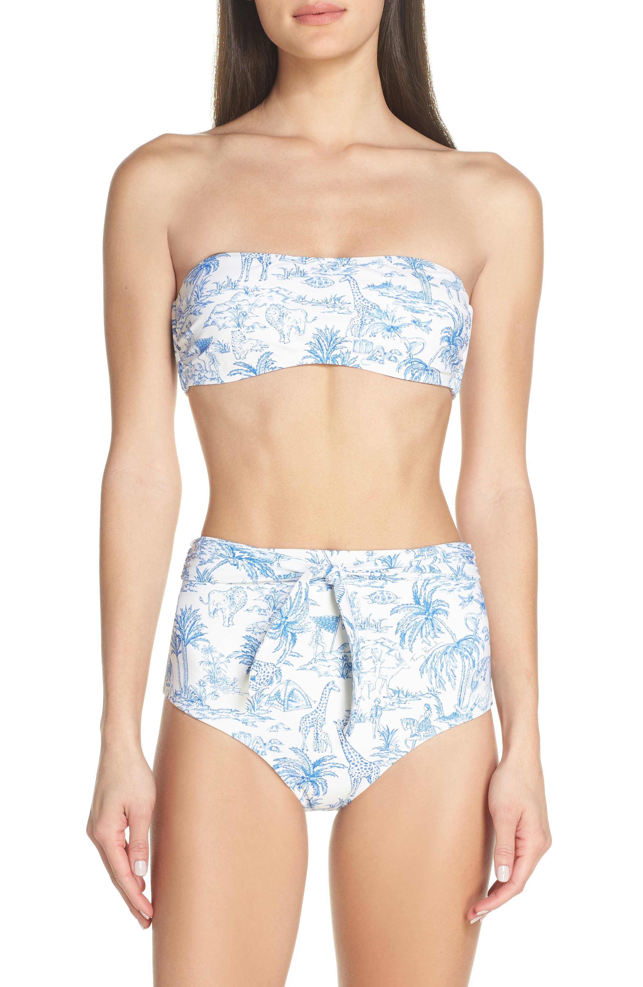 TORY BURCH,                             Sash Tie High Waist Bikini Bottoms,                             Alternate thumbnail 7, color,                             IVORY FAR AND AWAY