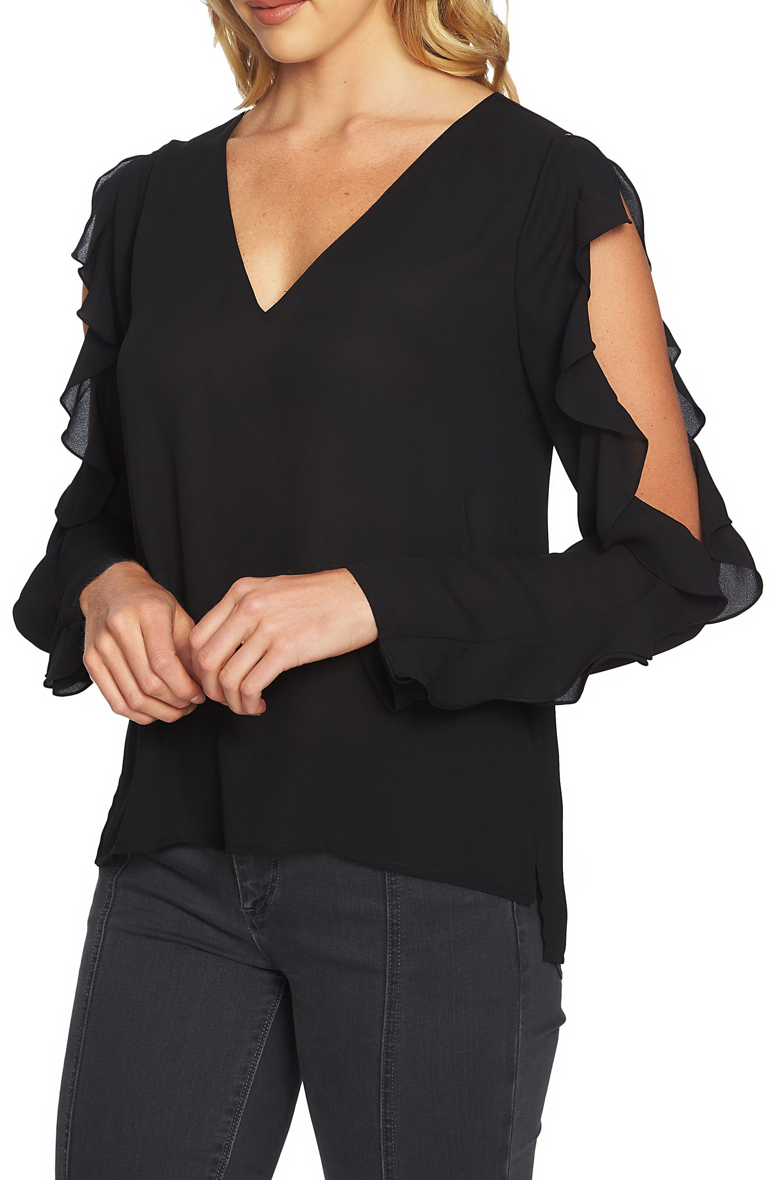 Ruffle Cold Shoulder Top,                         Main,                         color, 010