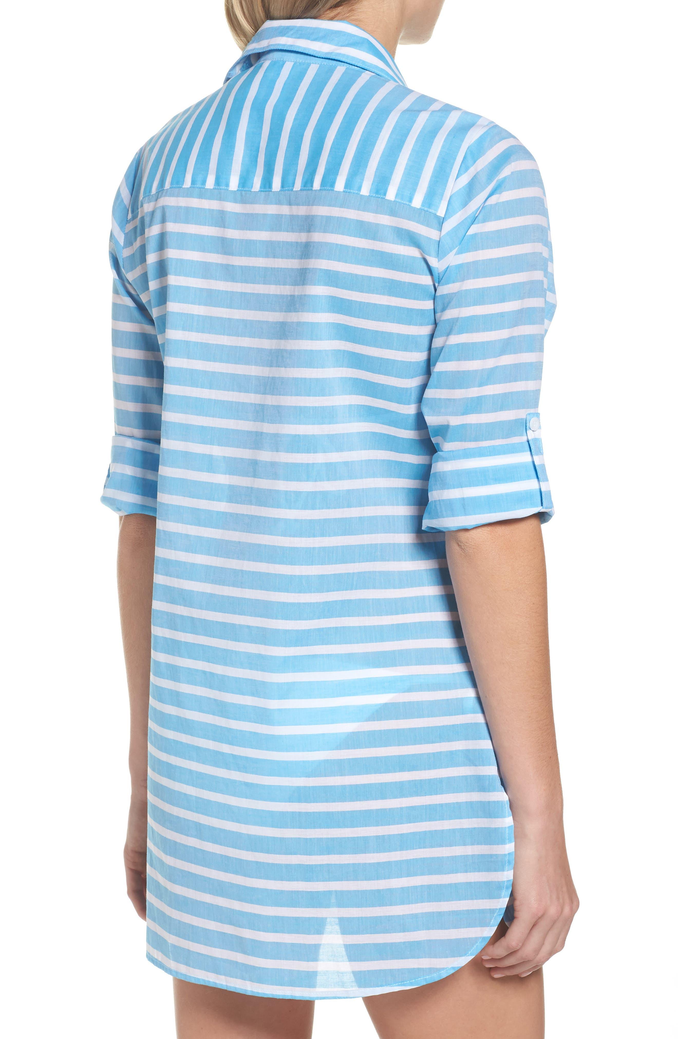 Brenton Stripe Boyfriend Shirt Cover-Up,                             Alternate thumbnail 5, color,