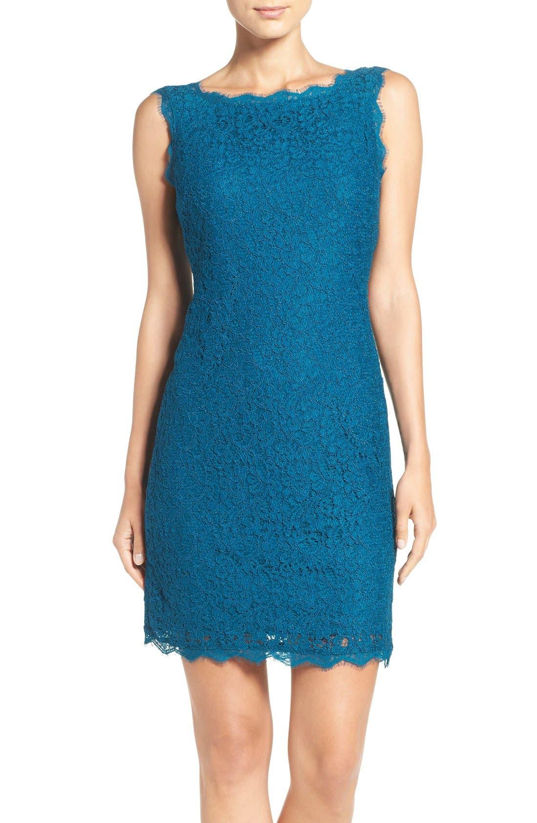 Boatneck Lace Sheath Dress,                             Main thumbnail 20, color,