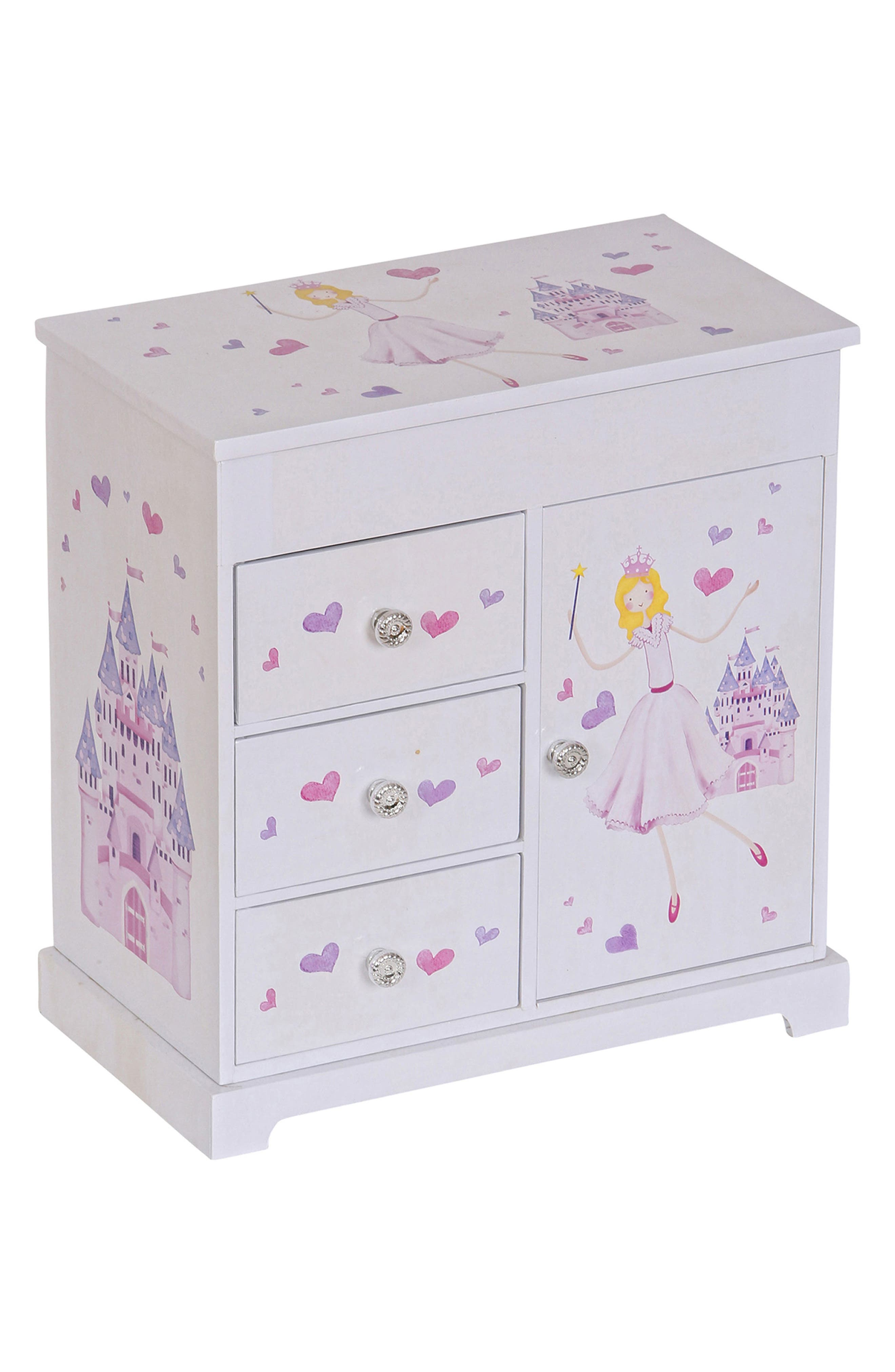 Adalyn Musical Jewelry Box,                         Main,                         color, WHITE