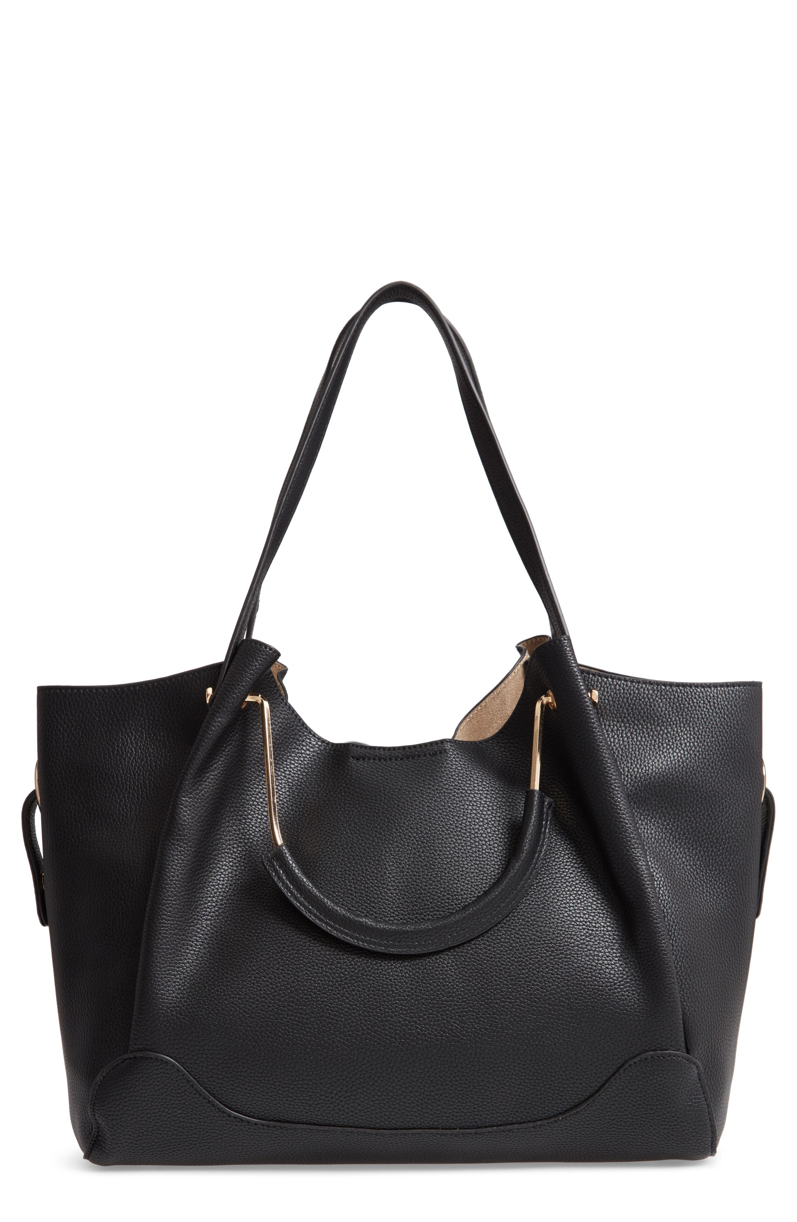 Faux Leather Satchel,                         Main,                         color, BLACK