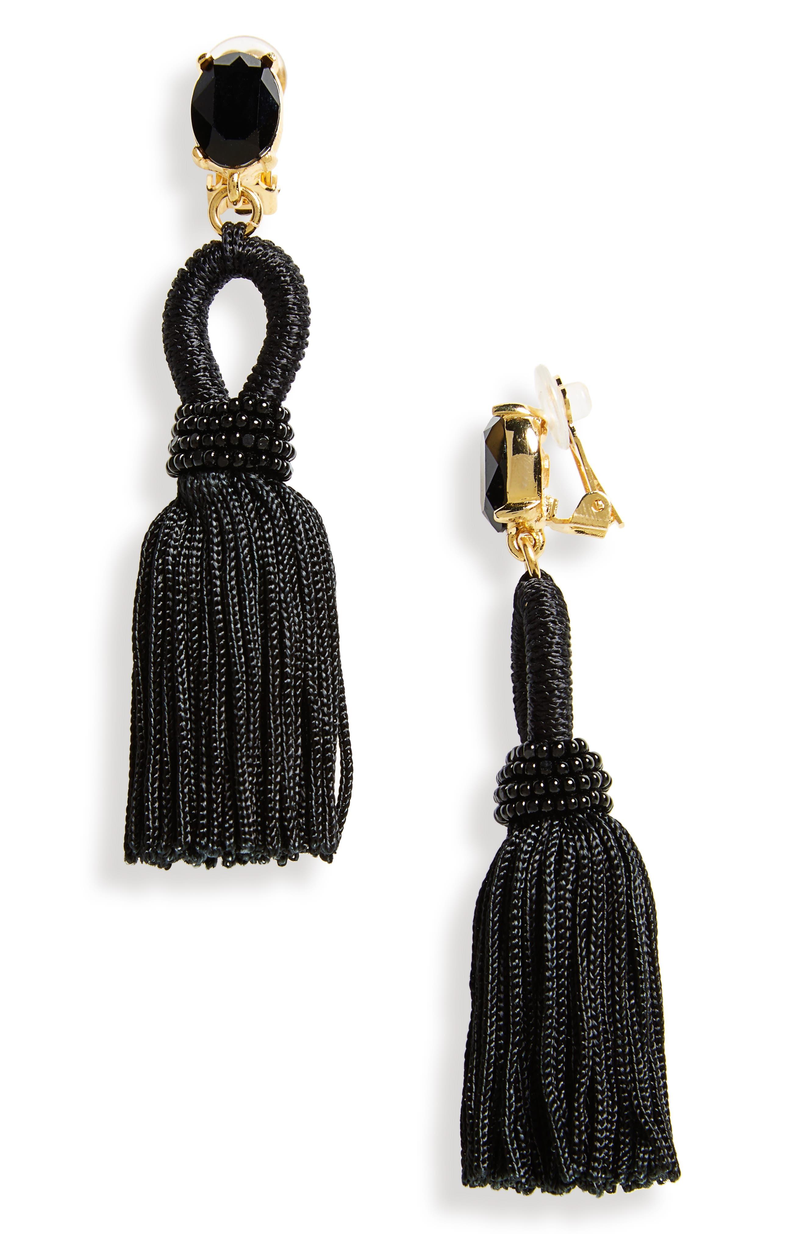 Silk Tassel Drop Earrings,                             Main thumbnail 1, color,                             010