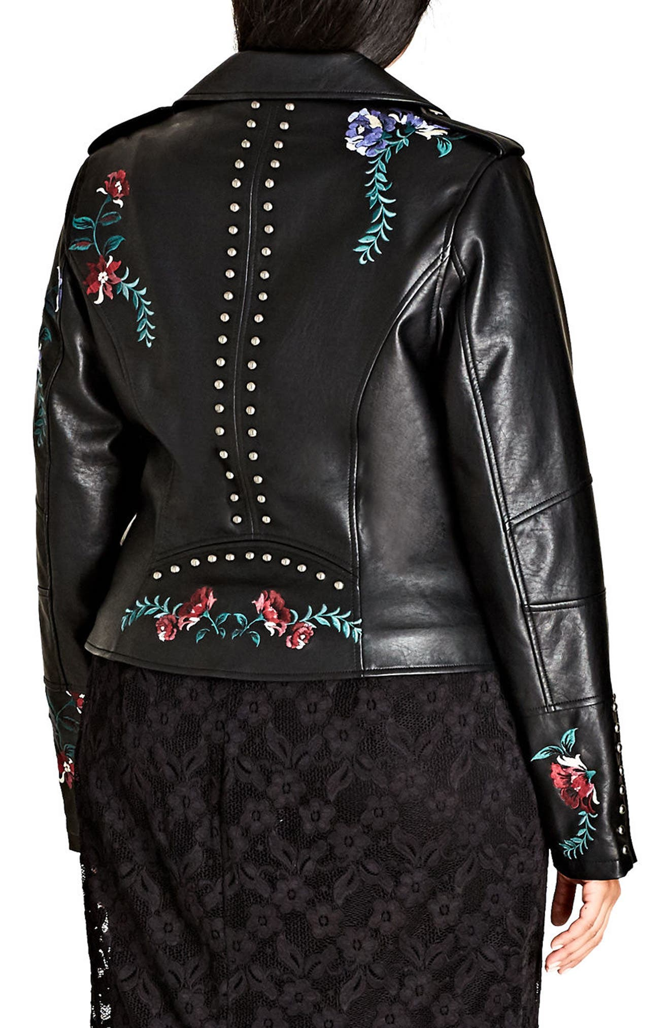 Embroidered Rose Faux Leather Biker Jacket,                             Alternate thumbnail 2, color,                             001
