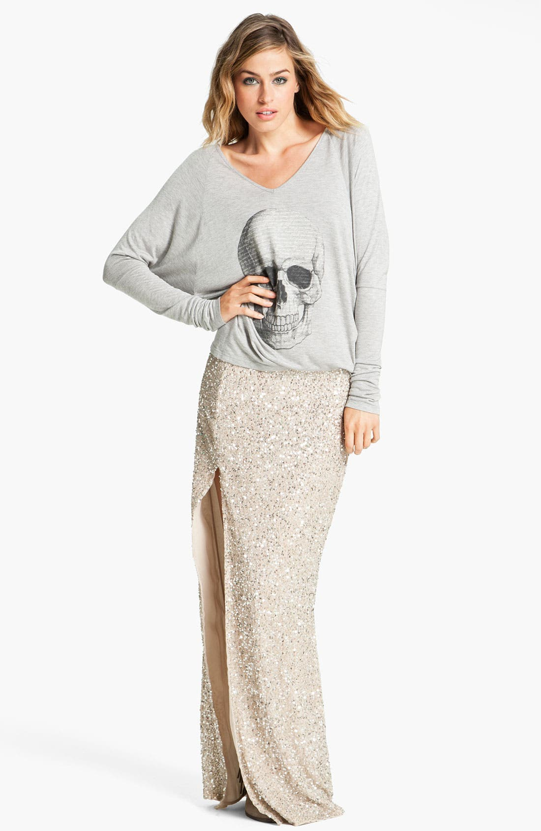 HAUTE HIPPIE,                             Embellished Maxi Skirt,                             Alternate thumbnail 5, color,                             040