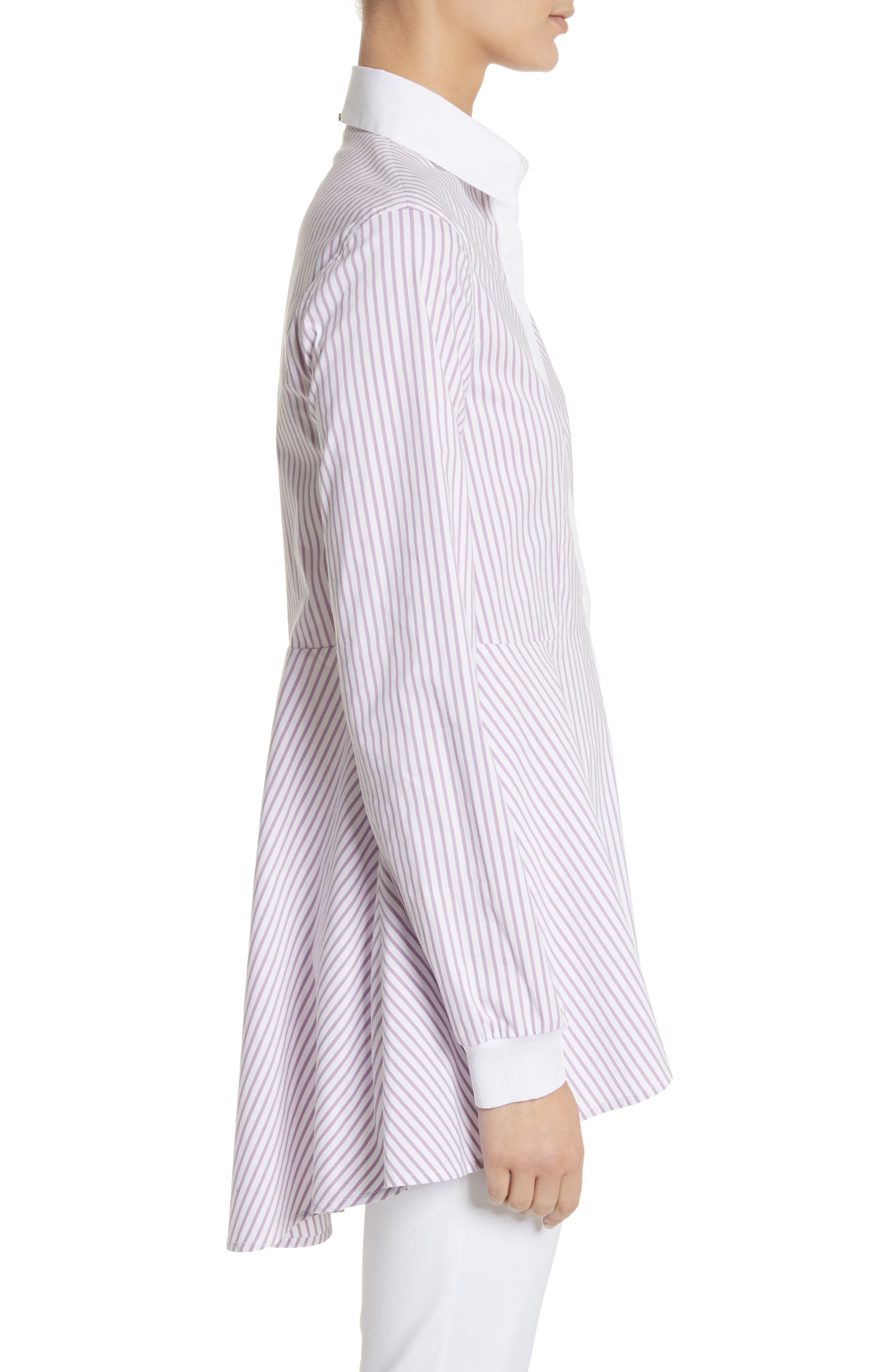 Pinstripe Cotton Blend Top,                             Alternate thumbnail 3, color,                             680