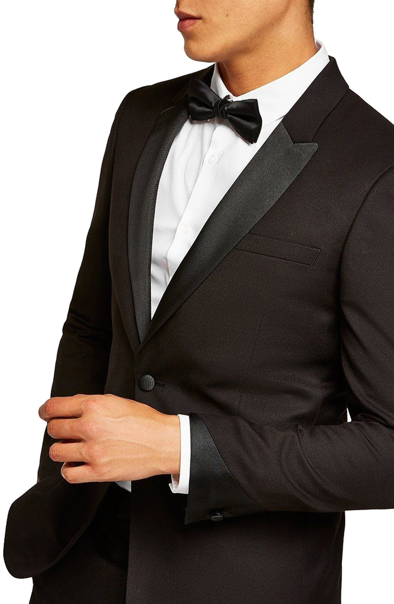 Skinny Fit Satin Lapel Tuxedo Jacket,                         Main,                         color, 001