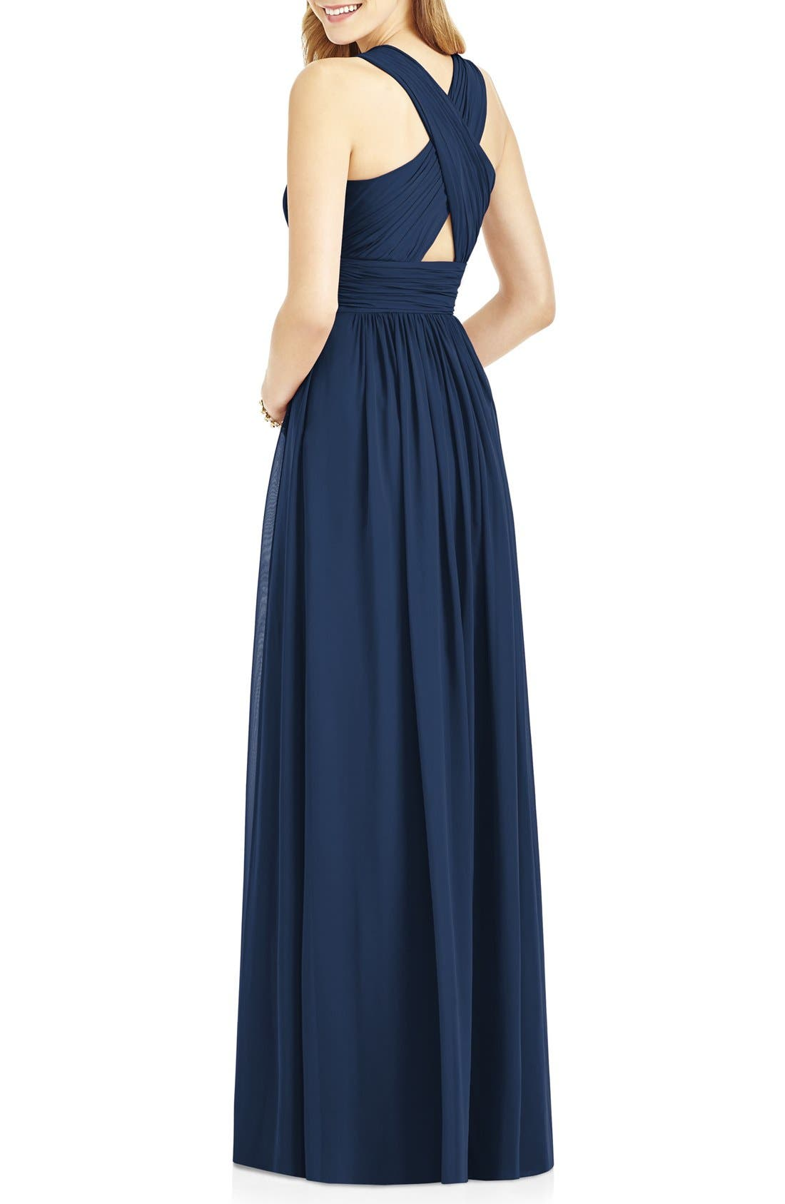 Crisscross Back Ruched Chiffon V-Neck Gown,                             Alternate thumbnail 2, color,                             405