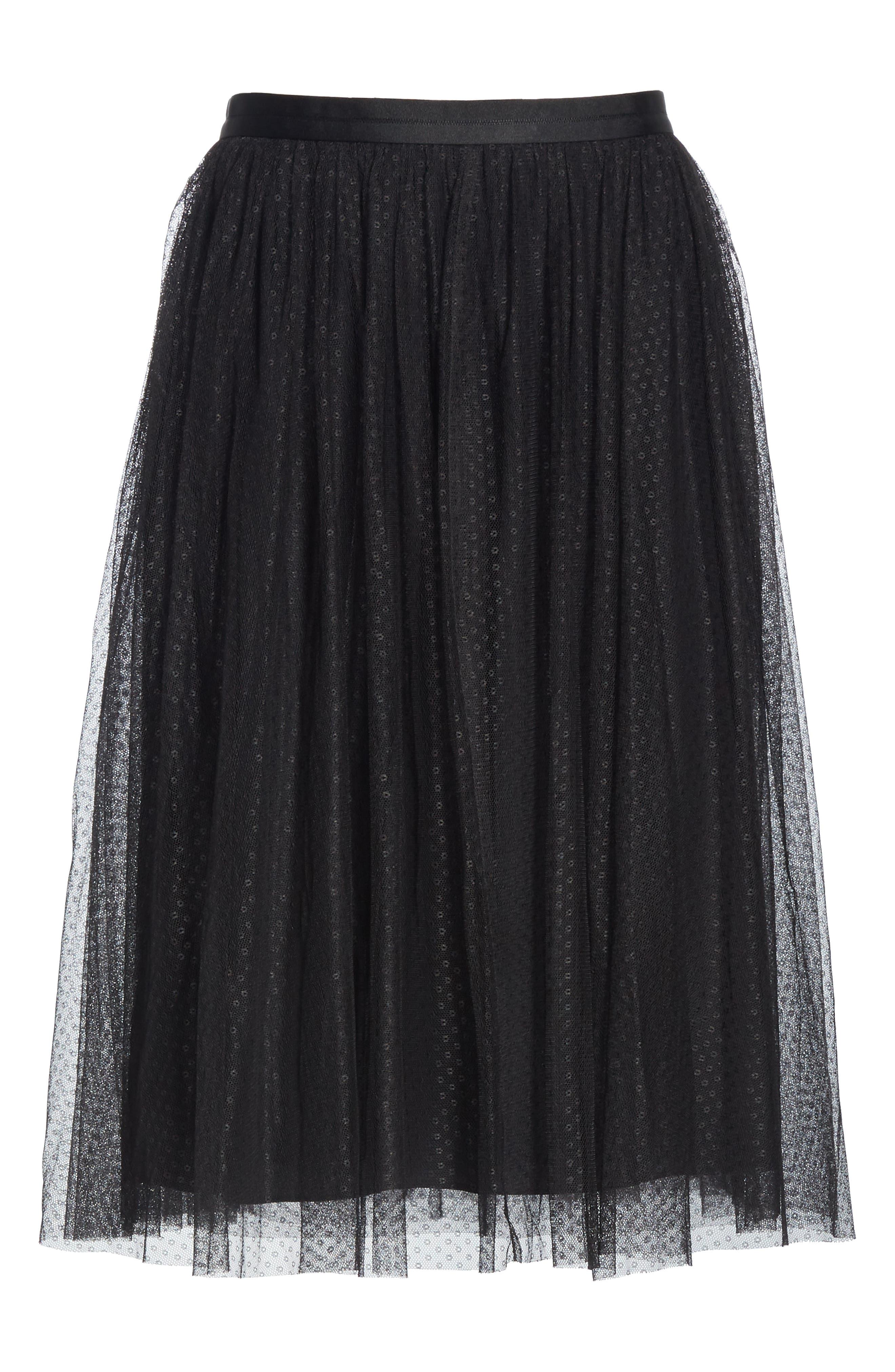 Dotted Tulle Skirt,                             Alternate thumbnail 6, color,                             001