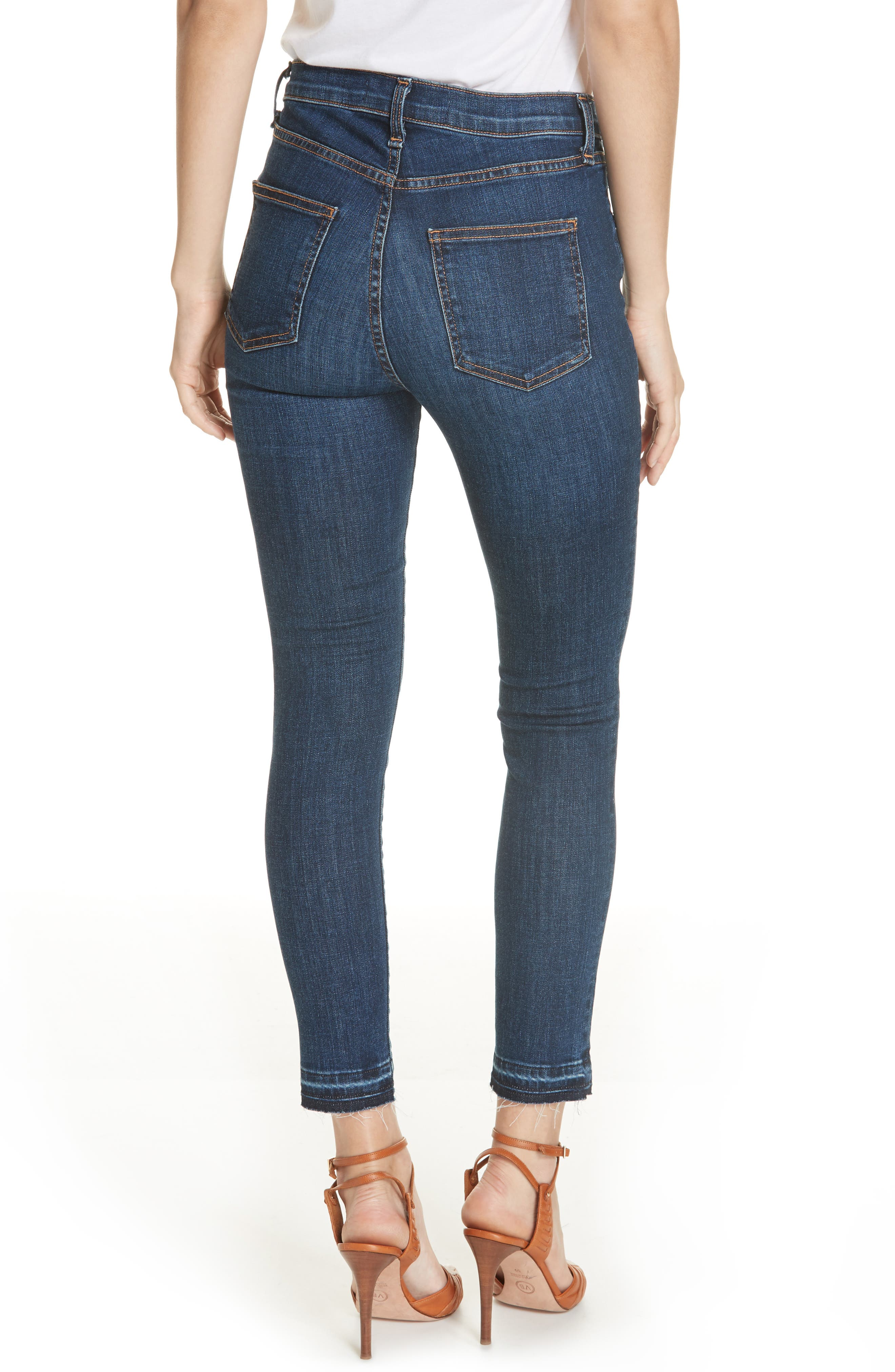 Debbie Frayed Crop Skinny Jeans,                             Alternate thumbnail 2, color,                             BRIGHT BLUE