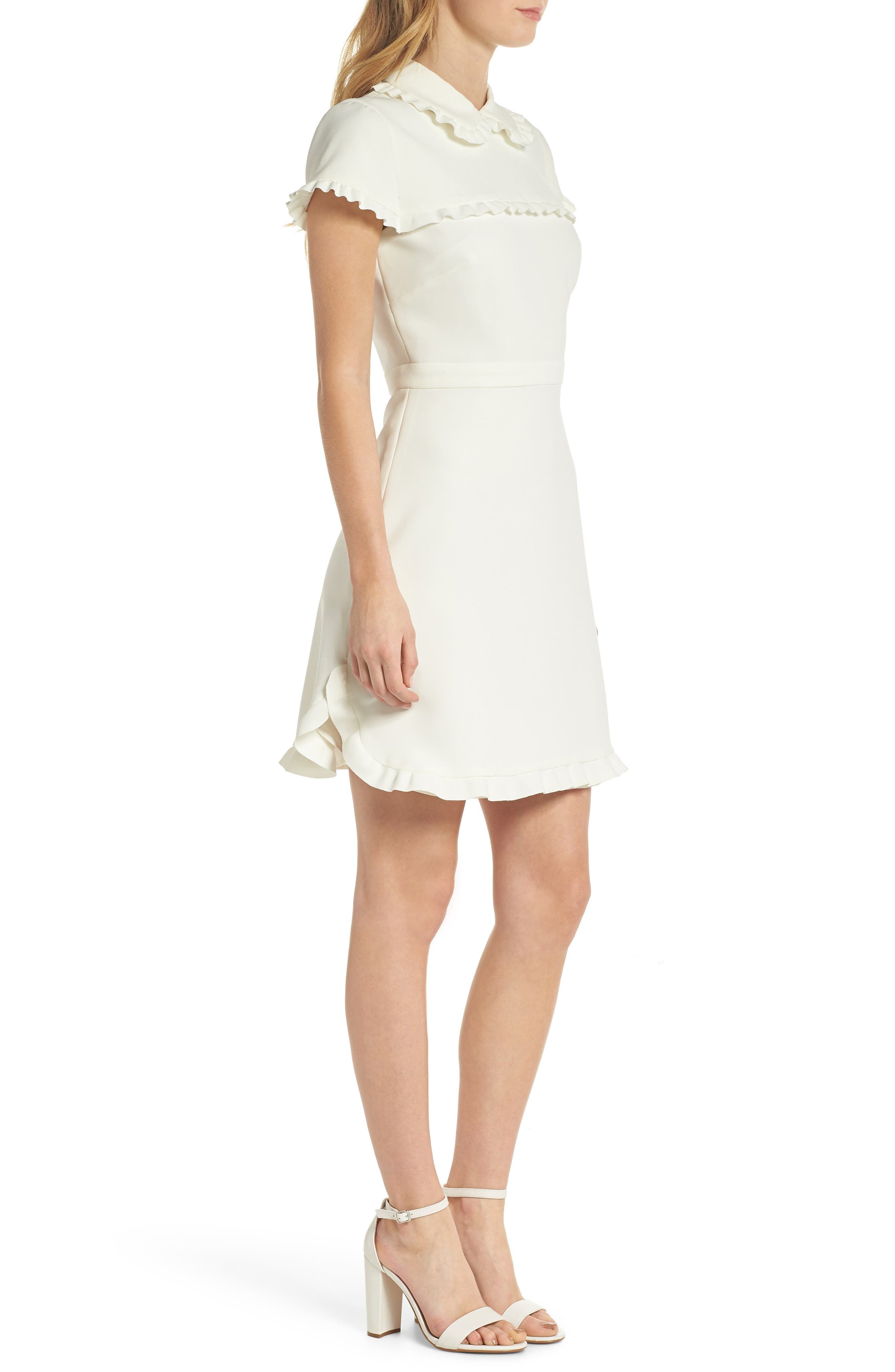 Emma Ruffle Crepe Dress,                             Alternate thumbnail 3, color,                             WHITE