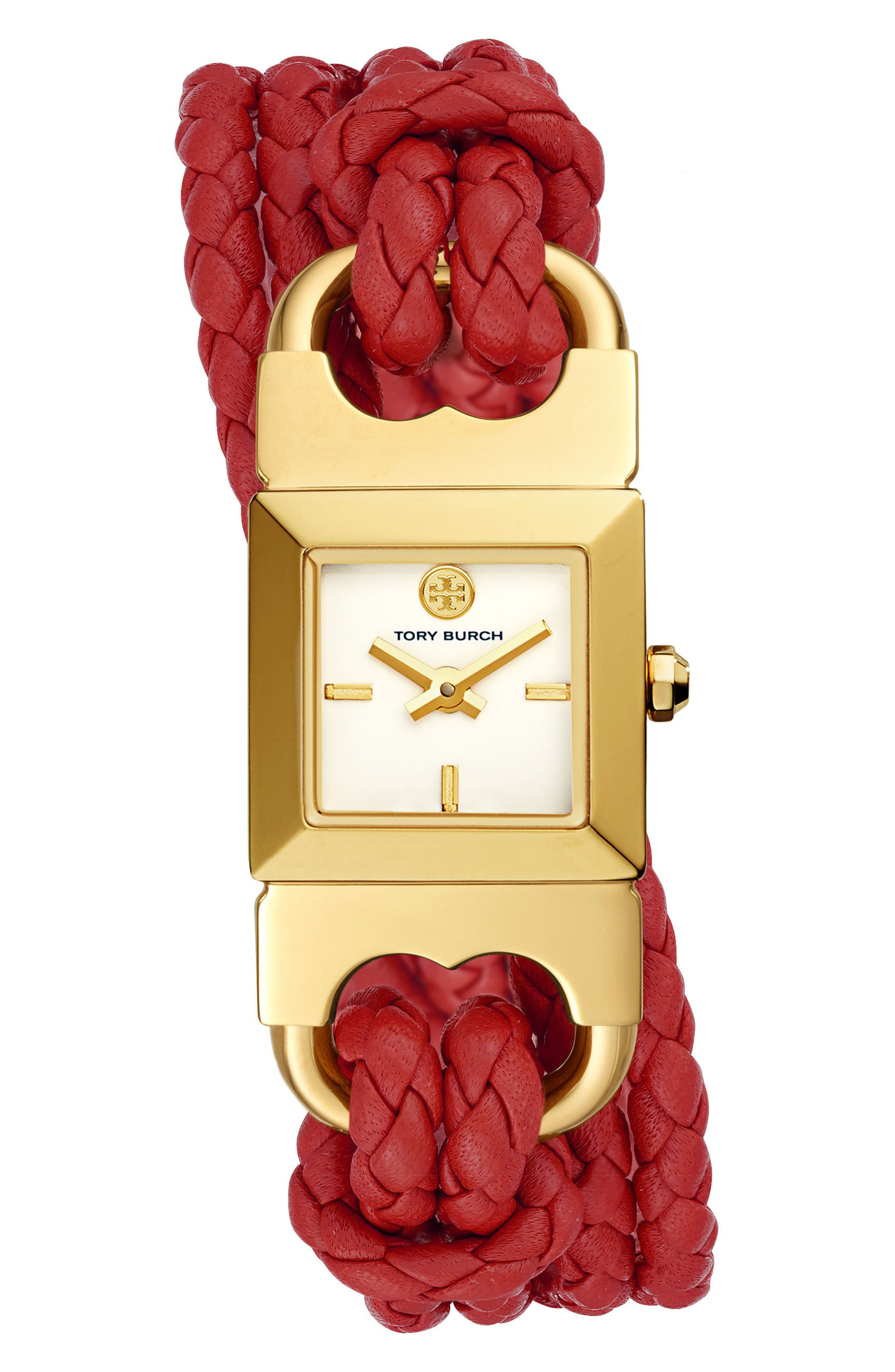 TORY BURCH,                             Gemini Link Square Leather Strap Watch, 18mm,                             Main thumbnail 1, color,                             RED/ CREAM/ GOLD
