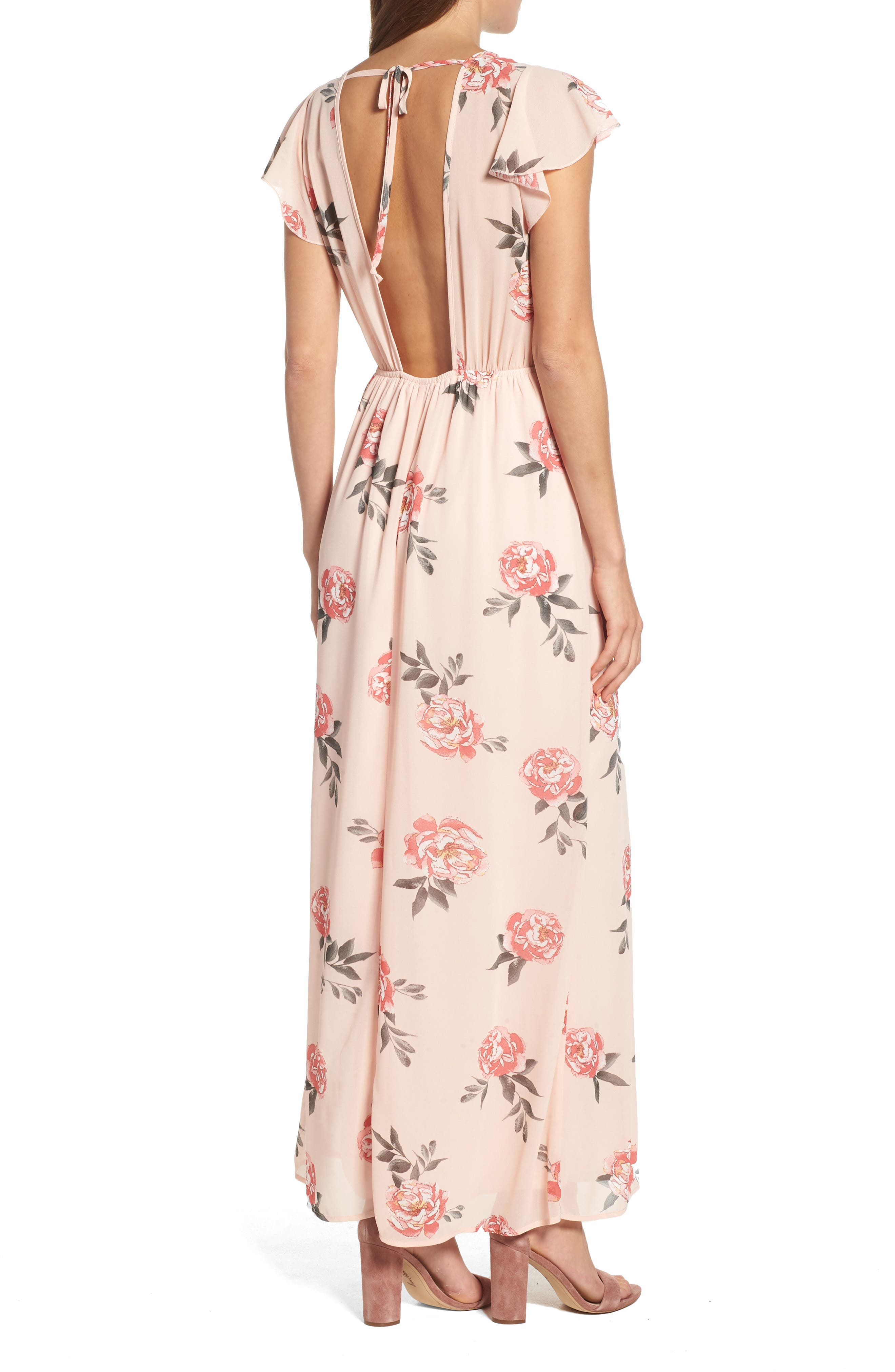 Floral Maxi Dress,                             Alternate thumbnail 2, color,                             LIGHT PEACH