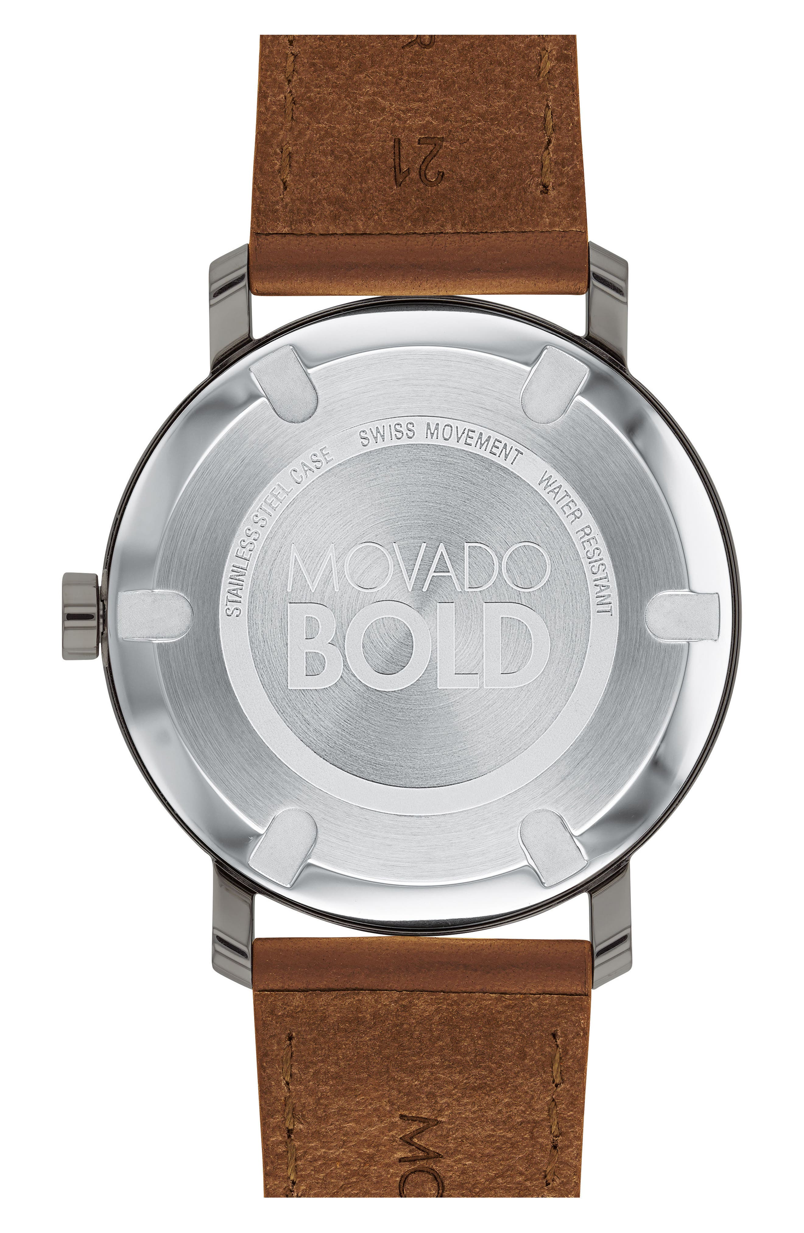 MOVADO,                             Bold Leather Strap Watch, 40mm,                             Alternate thumbnail 2, color,                             COGNAC/ GREY