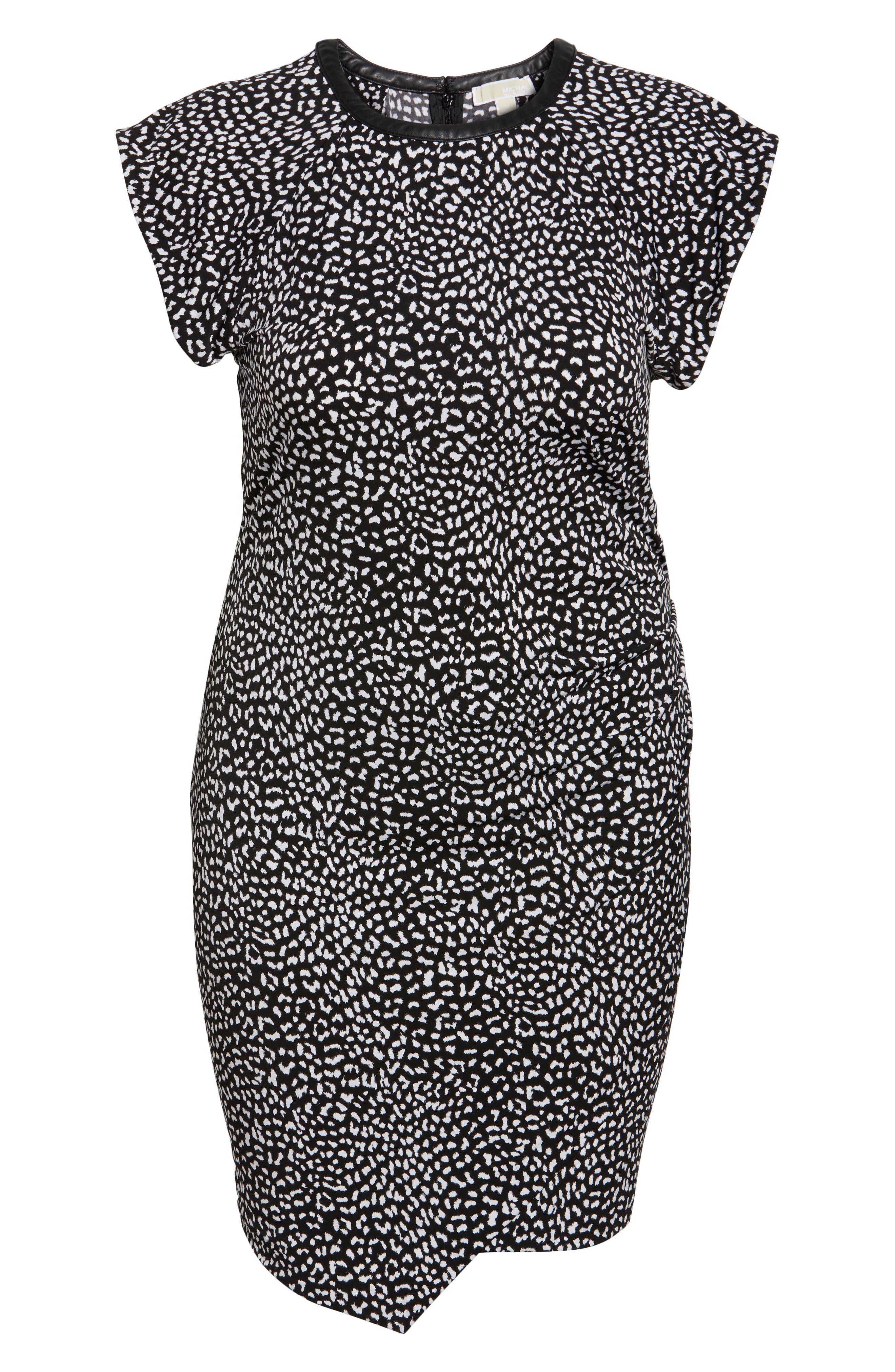 Cheetah Print Flutter Sleeve Dress,                             Alternate thumbnail 6, color,                             001