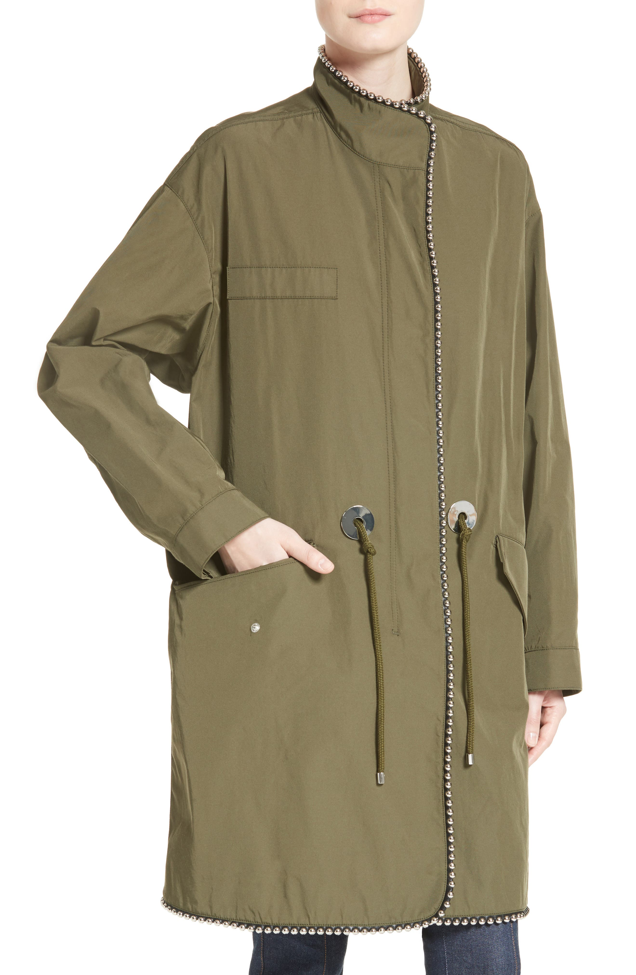 Chain Trim Twill Parka,                             Alternate thumbnail 4, color,                             300