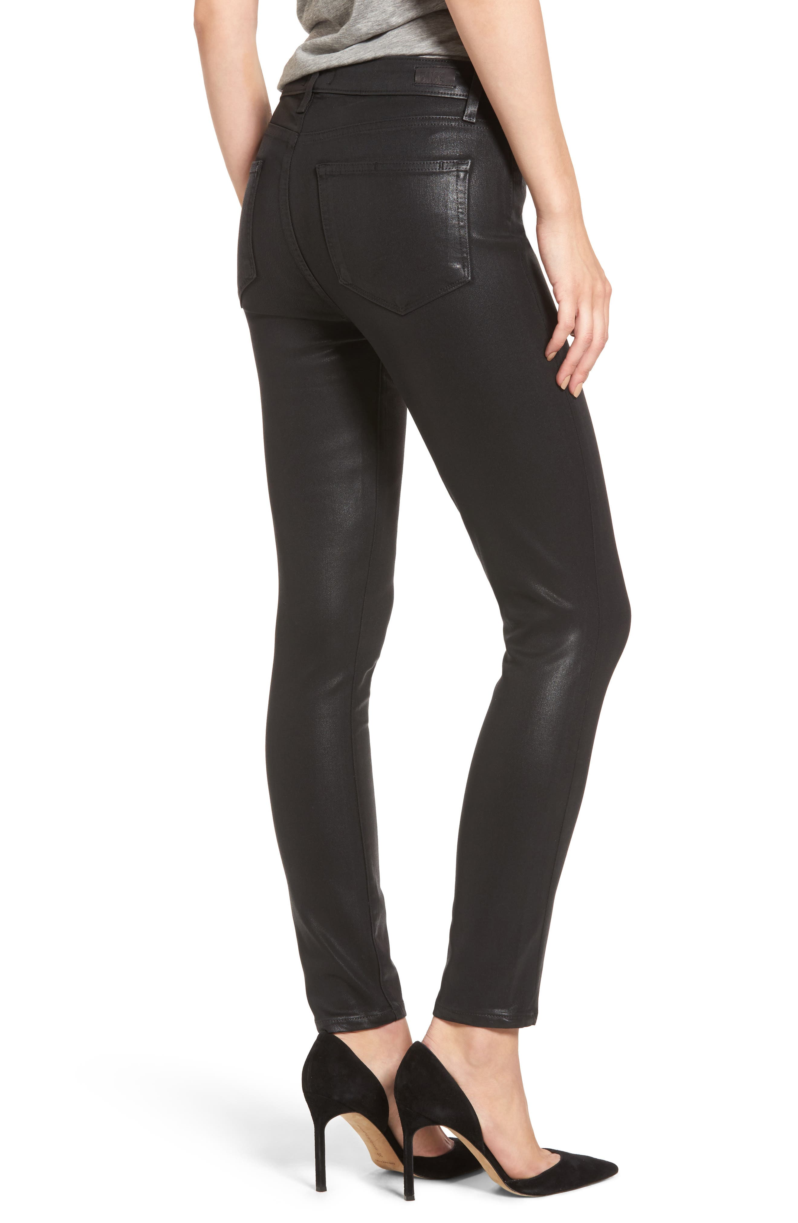 PAIGE,                             Transcend - Hoxton High Waist Ankle Skinny Jeans,                             Alternate thumbnail 2, color,                             LUXE BLACK COATED