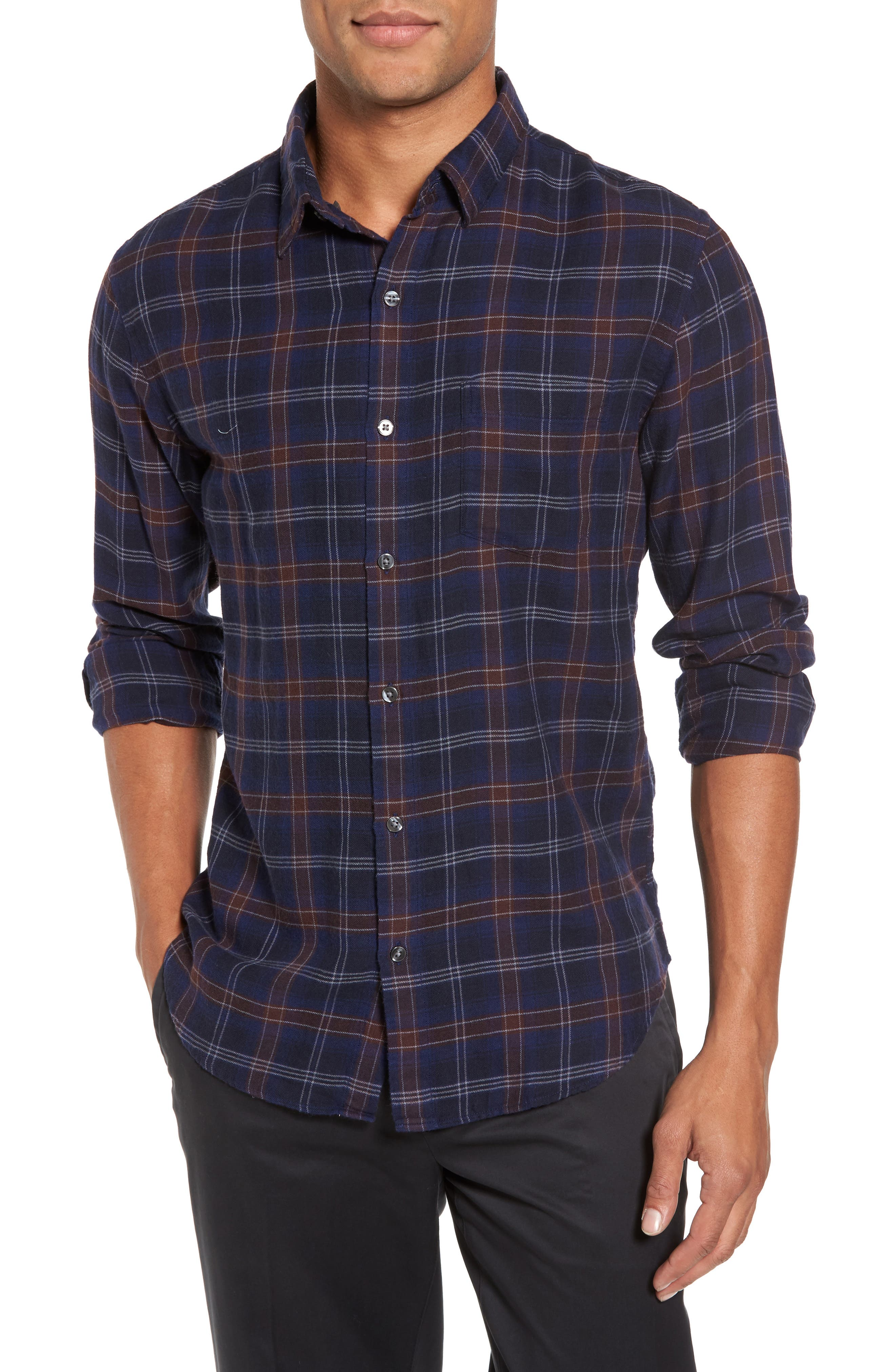 Slim Fit Check Brushed Twill Sport Shirt,                             Main thumbnail 1, color,                             404
