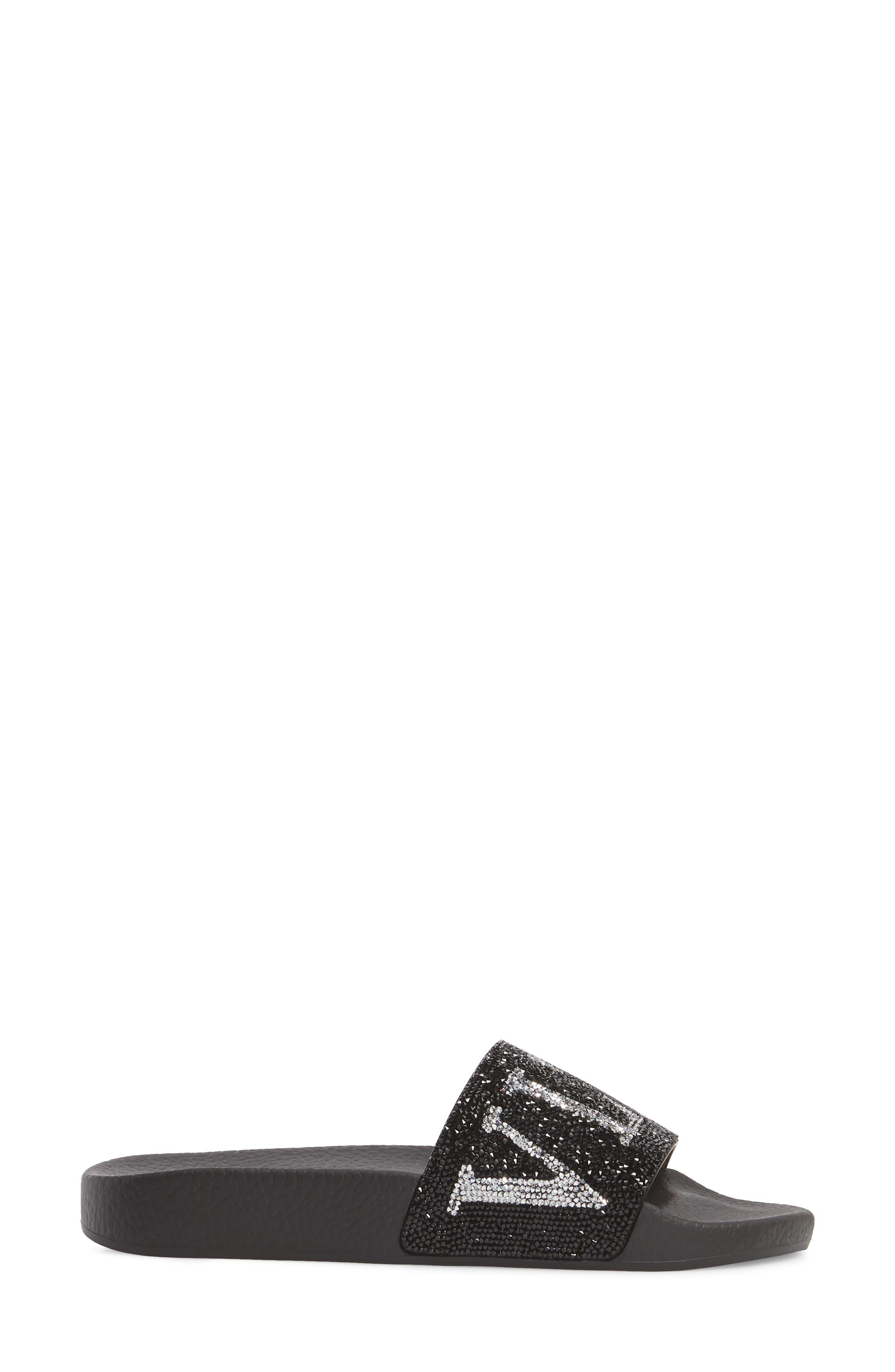 Crystal Logo Slide Sandal,                             Alternate thumbnail 3, color,                             BLACK