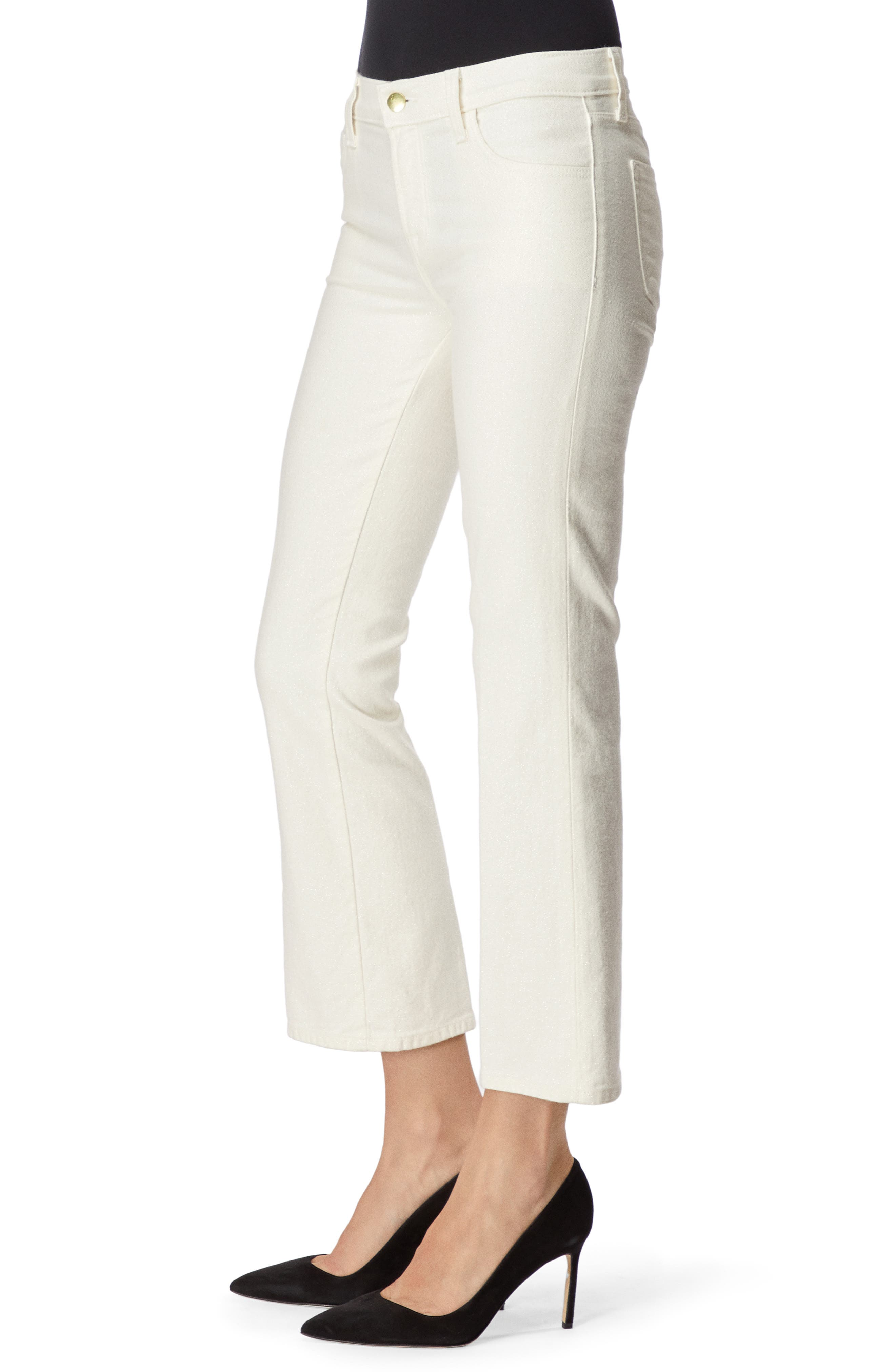 Selena Crop Bootcut Jeans,                             Alternate thumbnail 3, color,                             GLIMMER