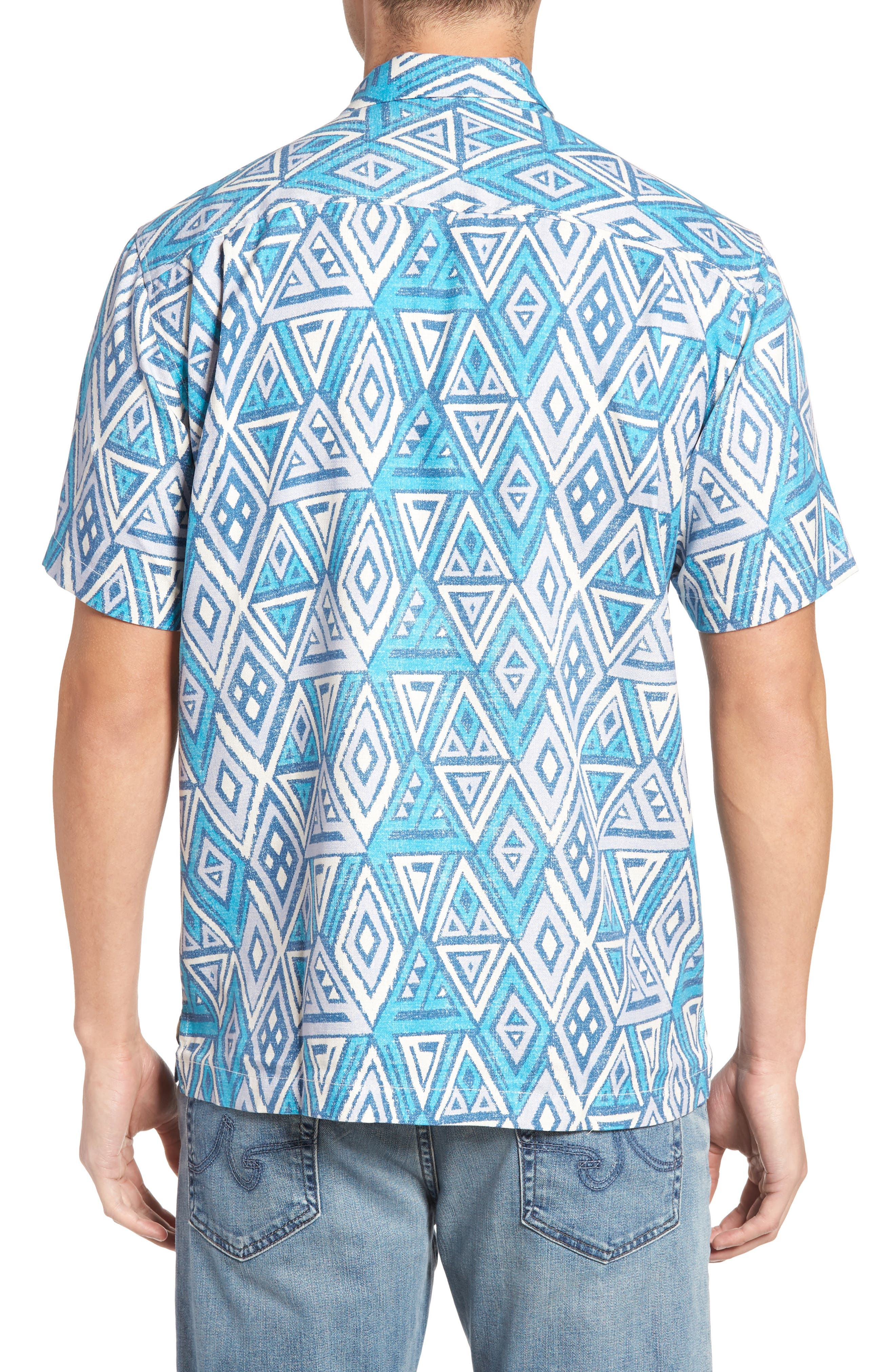 Trio Geo Silk Blend Camp Shirt,                             Alternate thumbnail 2, color,