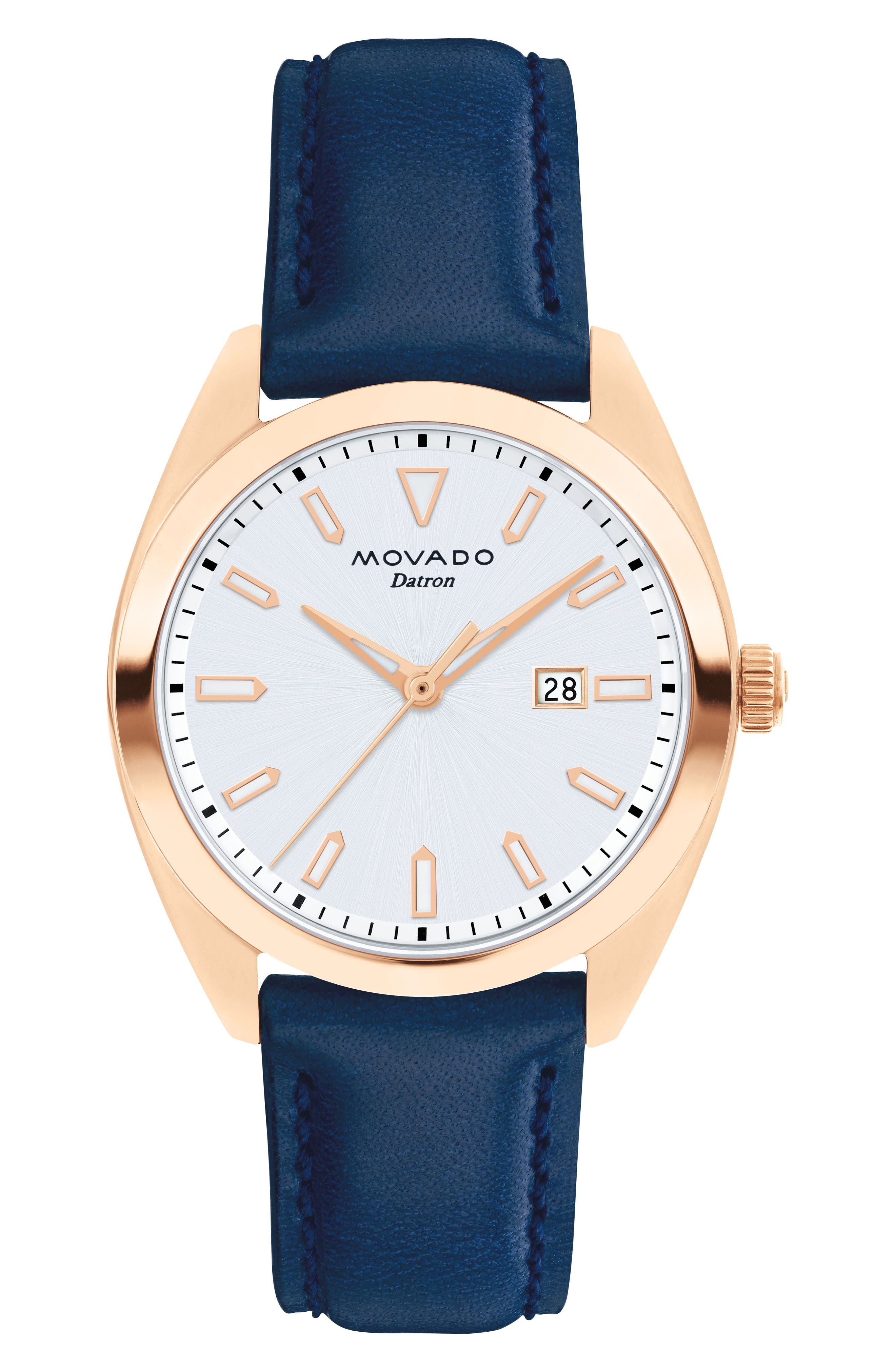 Heritage Datron Leather Strap Watch, 31mm,                             Main thumbnail 1, color,                             BLUE/ WHITE/ ROSE GOLD