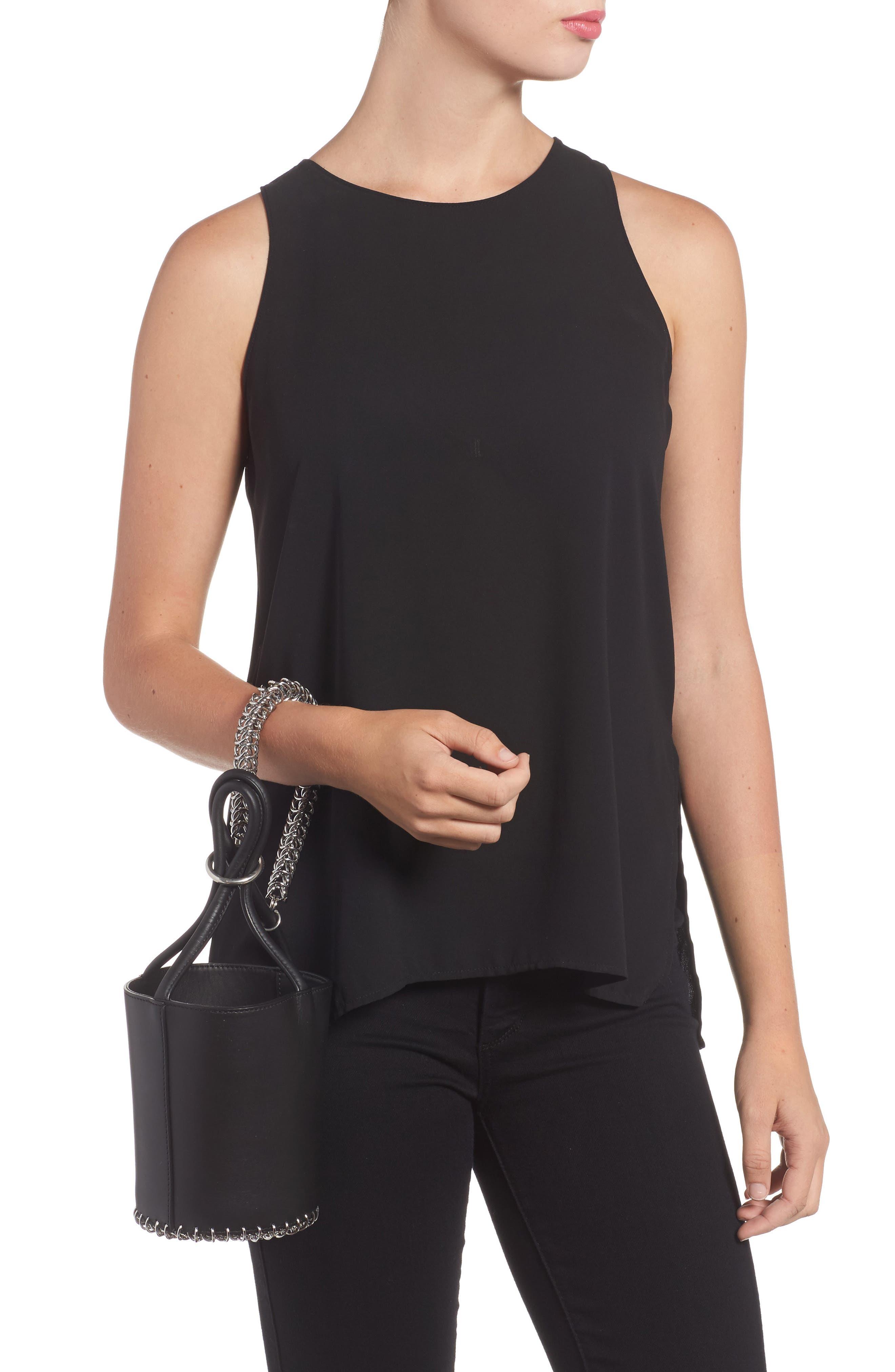 Roxy Box Chain Leather Bucket Bag,                             Alternate thumbnail 2, color,                             001