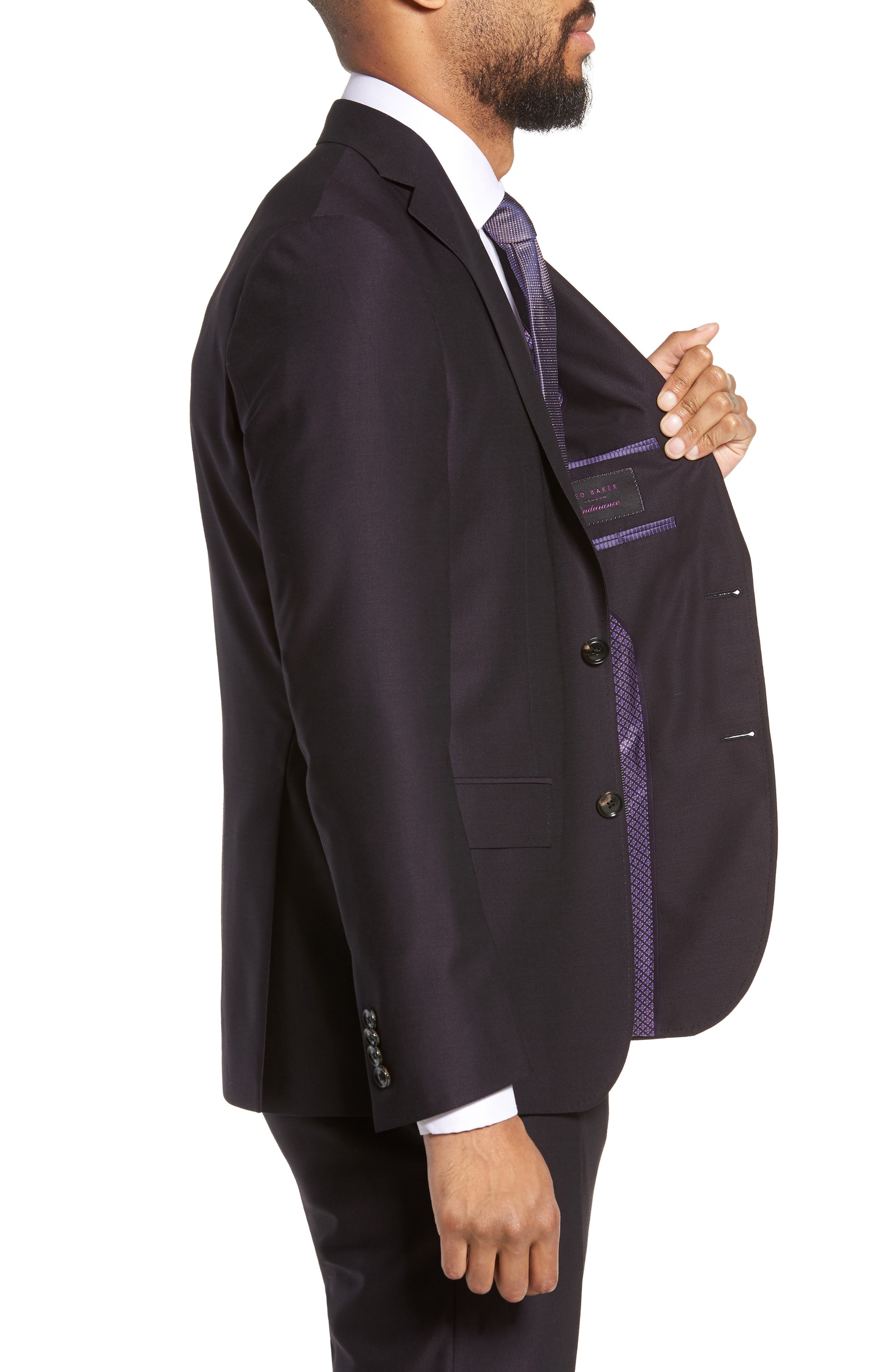 Roger Extra Trim Fit Solid Wool Suit,                             Alternate thumbnail 4, color,                             DEEP EGGPLANT