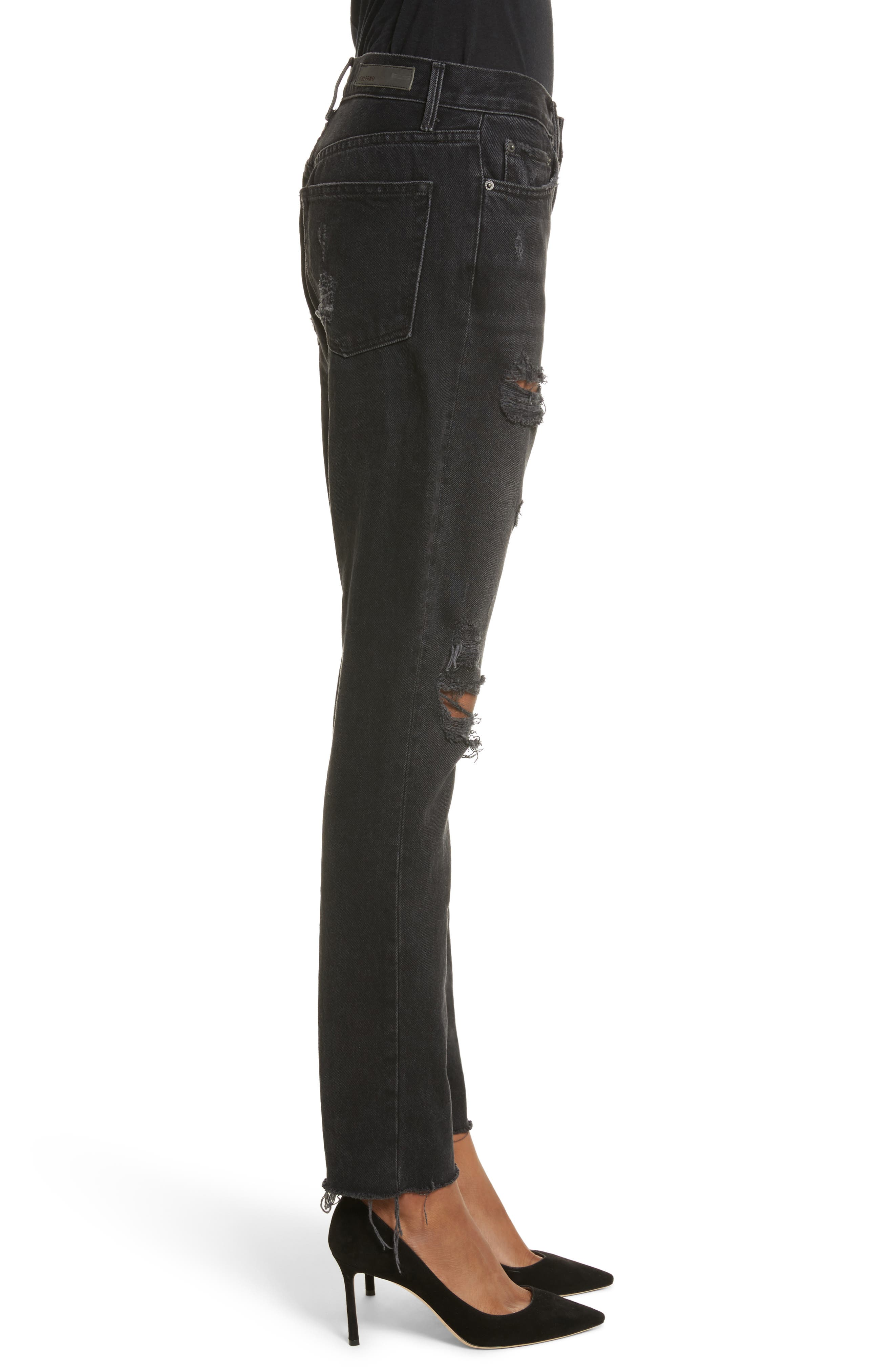 Karolina Ripped Rigid High Waist Skinny Jeans,                             Alternate thumbnail 3, color,                             TRAVELIN BAND