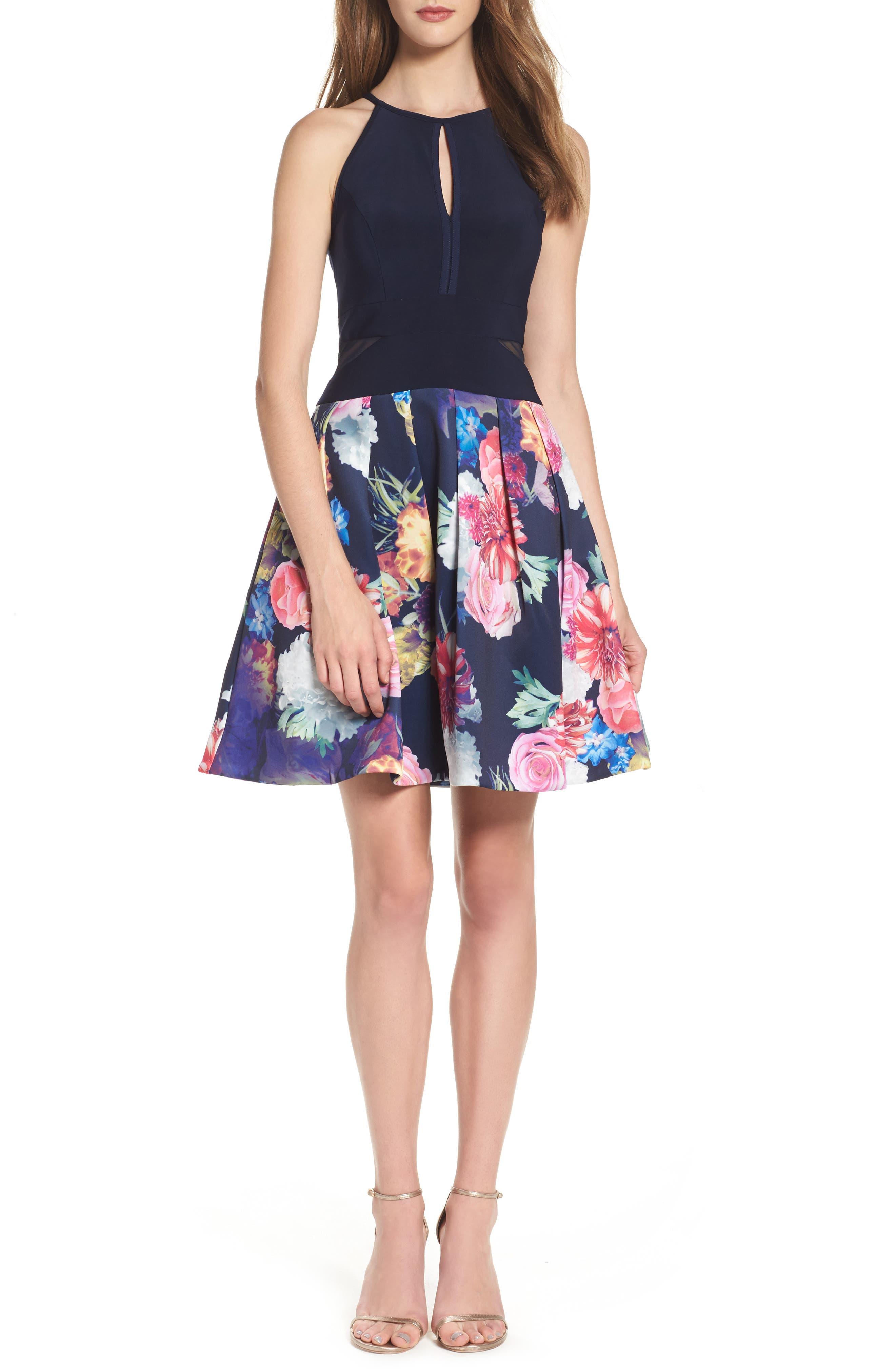 Keyhole Mixed Media Party Dress,                         Main,                         color, 484